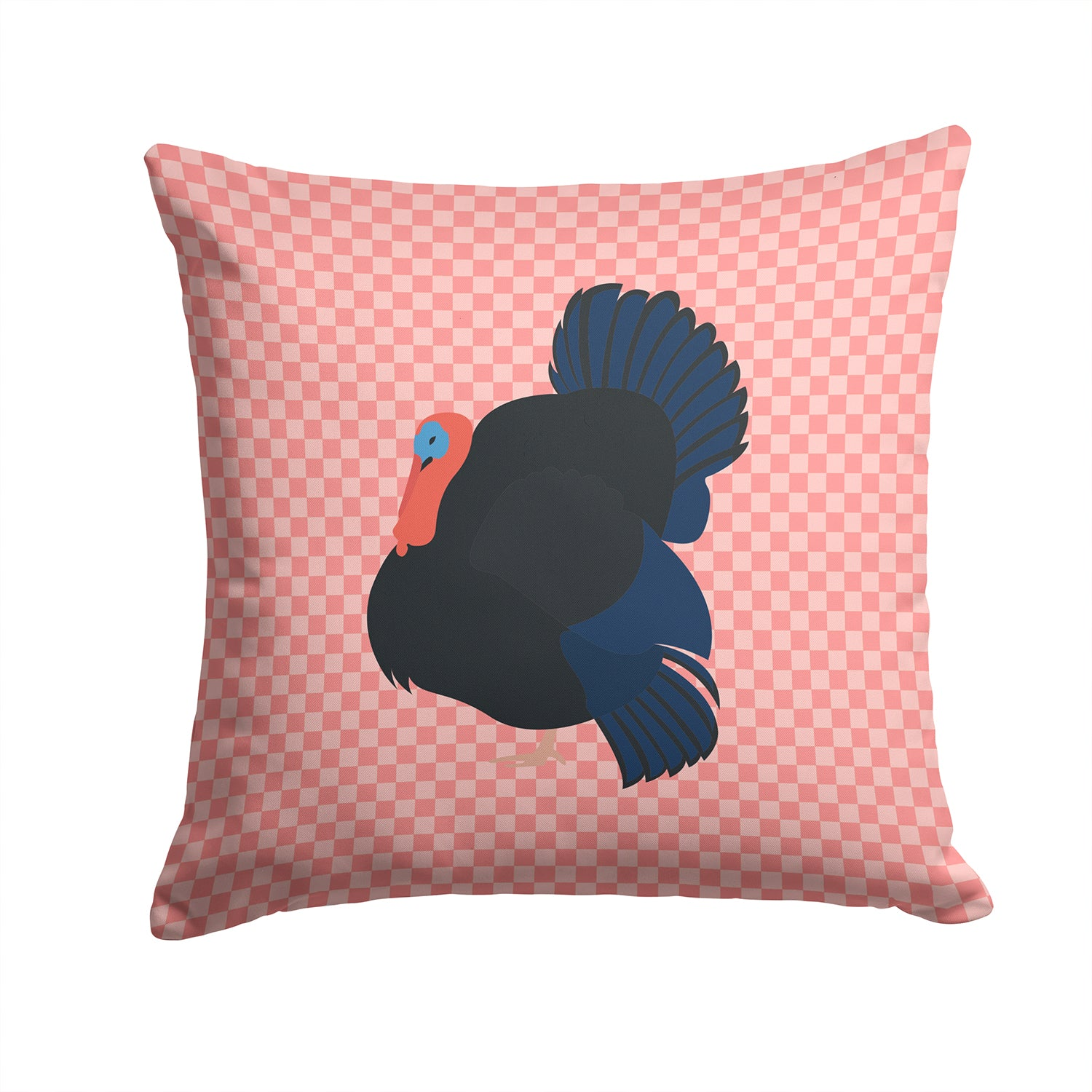 Norfolk Black Turkey Pink Check Fabric Decorative Pillow BB7985PW1414 by Caroline's Treasures