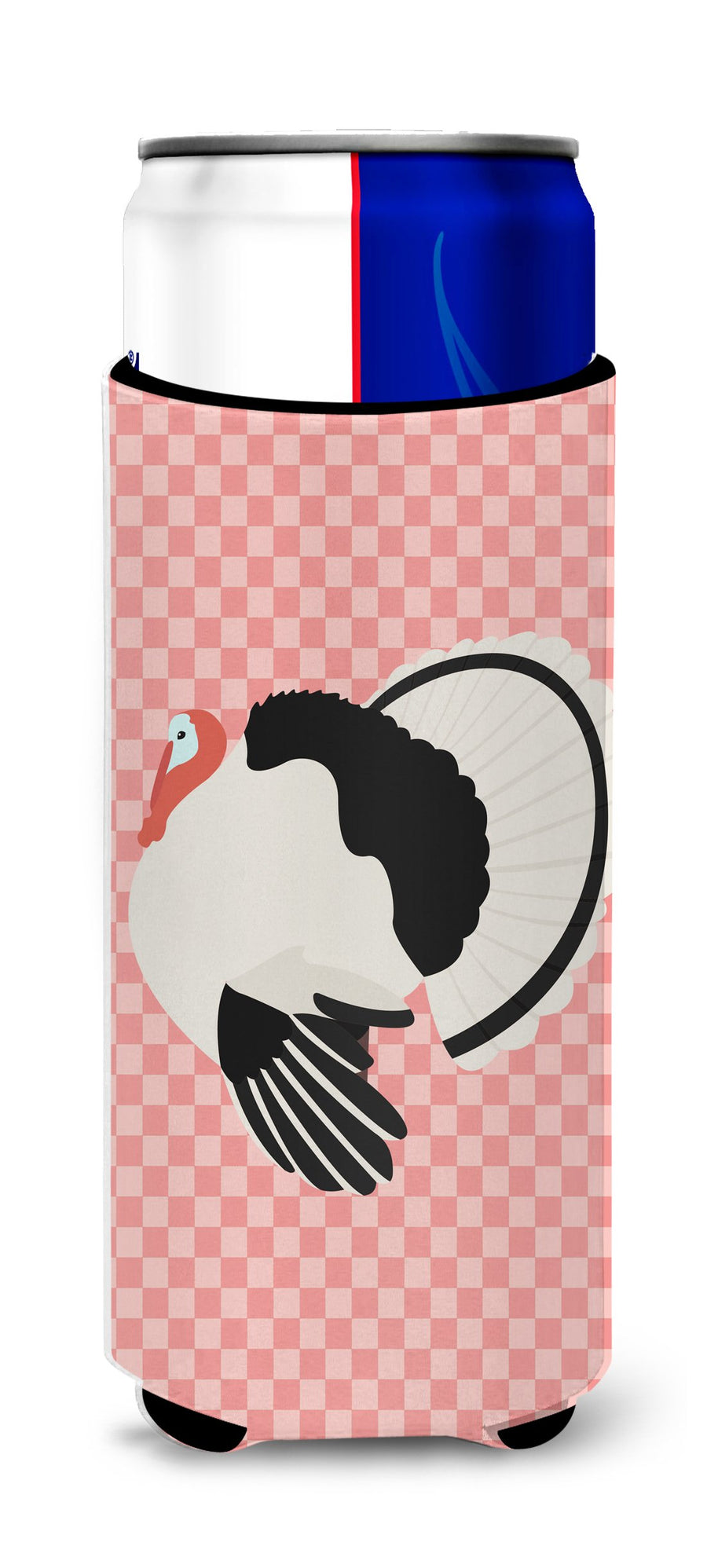 Buy this Royal Palm Turkey Pink Check Michelob Ultra Hugger for slim cans