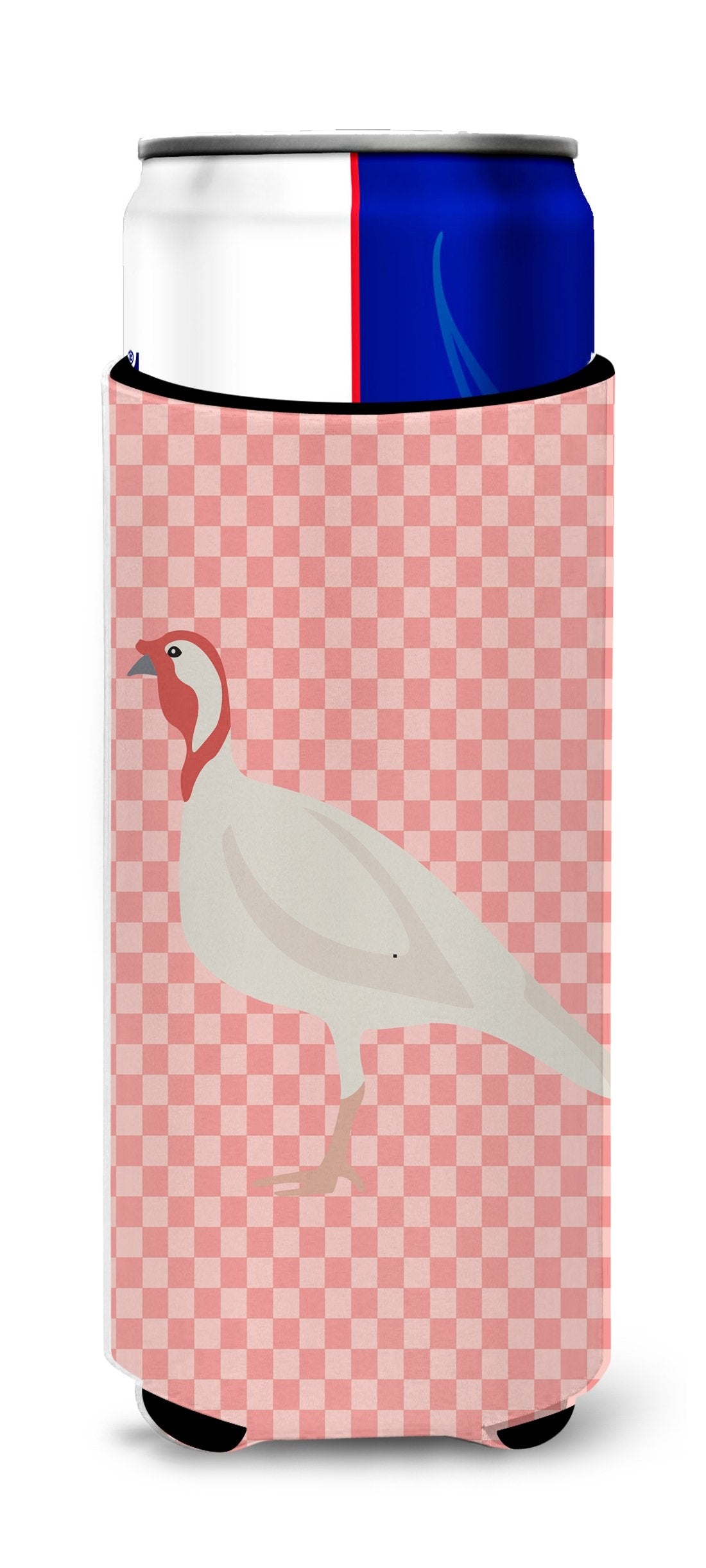 Buy this Beltsville Small White Turkey Hen Pink Check Michelob Ultra Hugger for slim cans