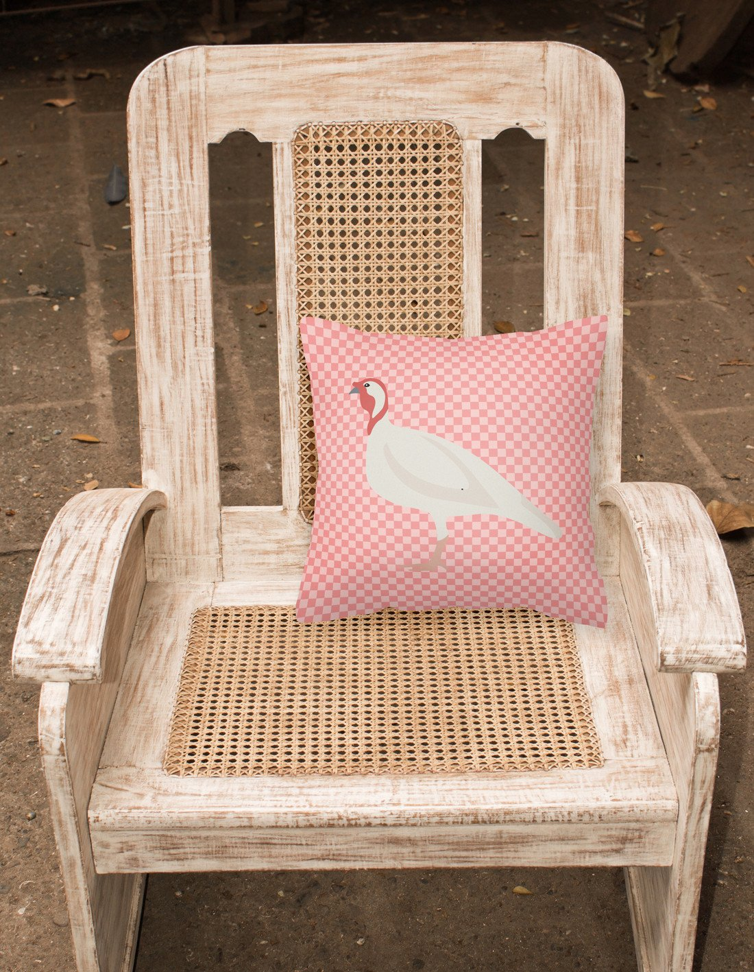 Beltsville Small White Turkey Hen Pink Check Fabric Decorative Pillow BB7989PW1818 by Caroline's Treasures