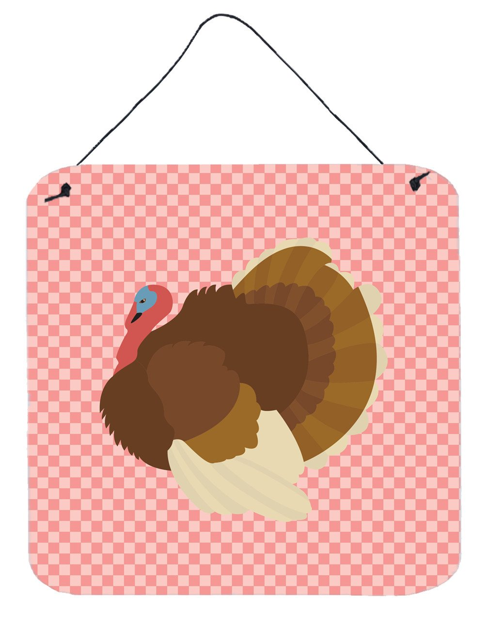 French Turkey Dindon Pink Check Wall or Door Hanging Prints BB7990DS66 by Caroline's Treasures