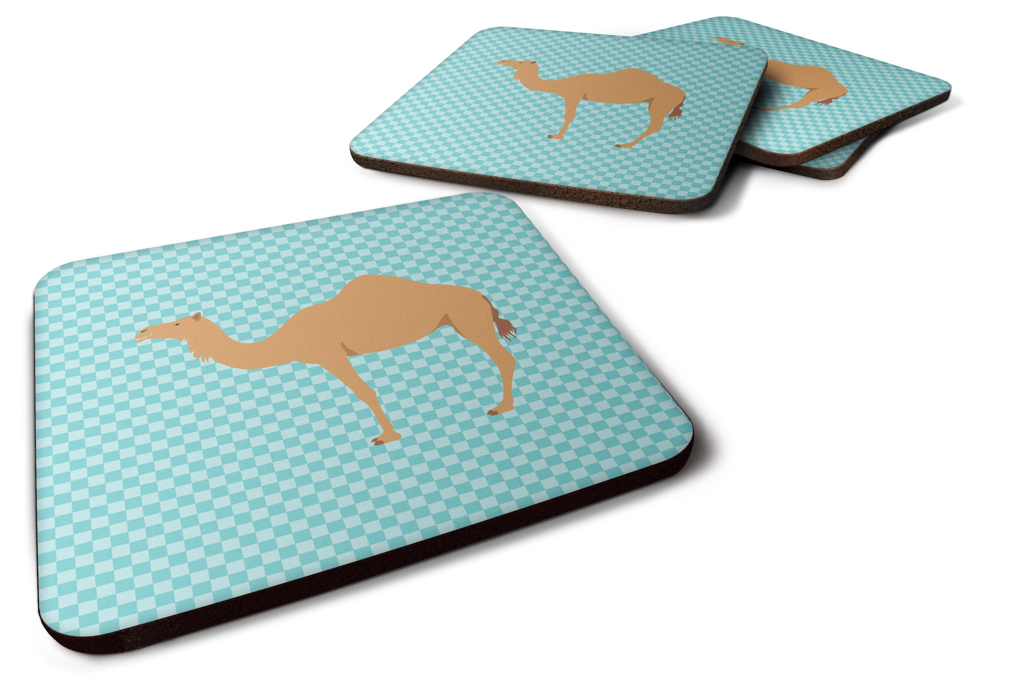 Buy this Arabian Camel Dromedary Blue Check Foam Coaster Set of 4 BB7991FC