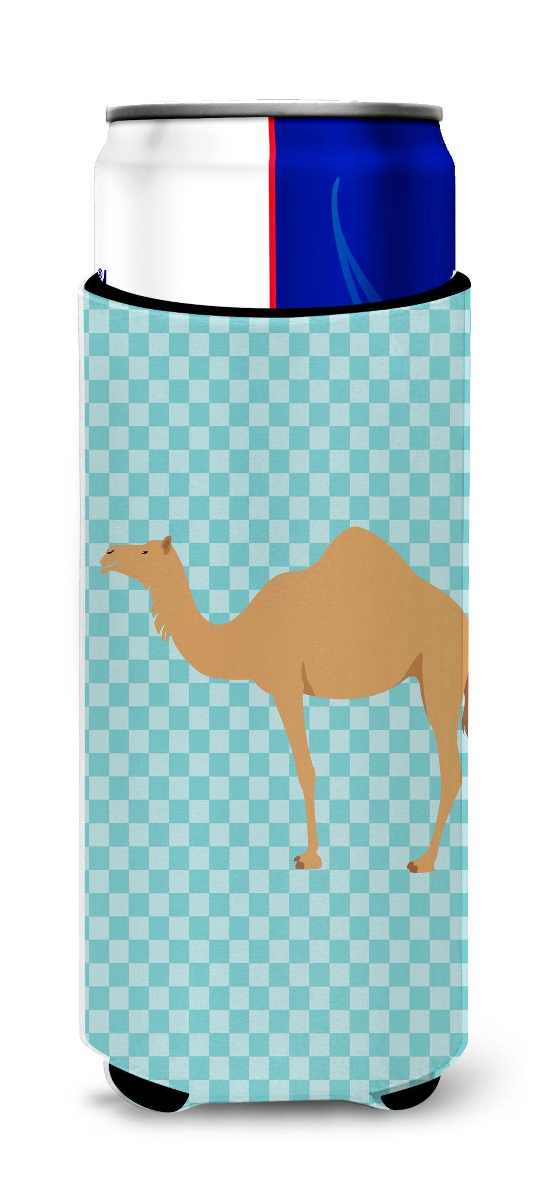 Arabian Camel Dromedary Blue Check Michelob Ultra Hugger for slim cans by Caroline's Treasures