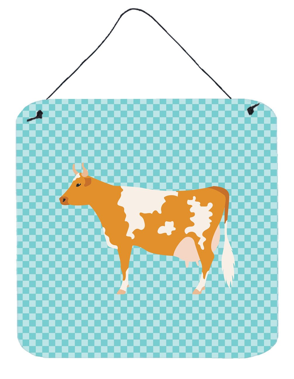 Guernsey Cow Blue Check Wall or Door Hanging Prints BB7995DS66 by Caroline's Treasures