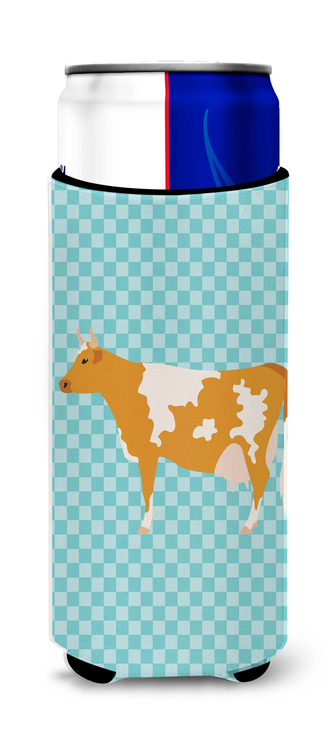 Guernsey Cow Blue Check Michelob Ultra Hugger for slim cans by Caroline's Treasures