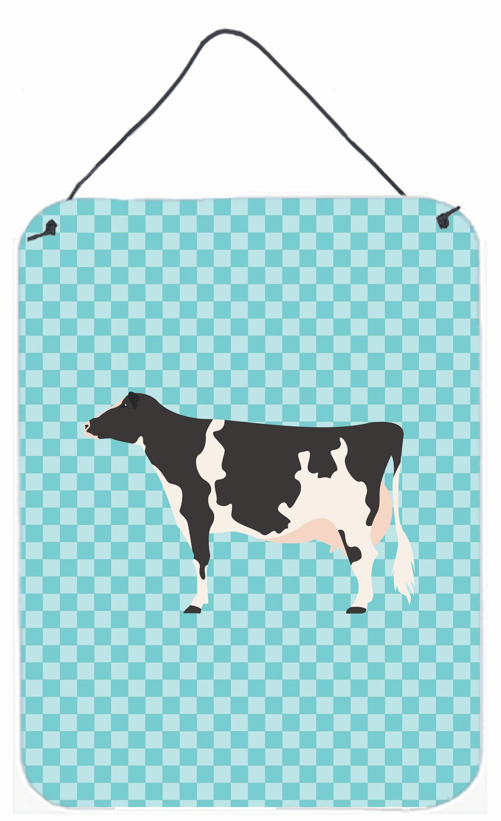 Holstein Cow Blue Check Wall or Door Hanging Prints BB7996DS1216 by Caroline's Treasures
