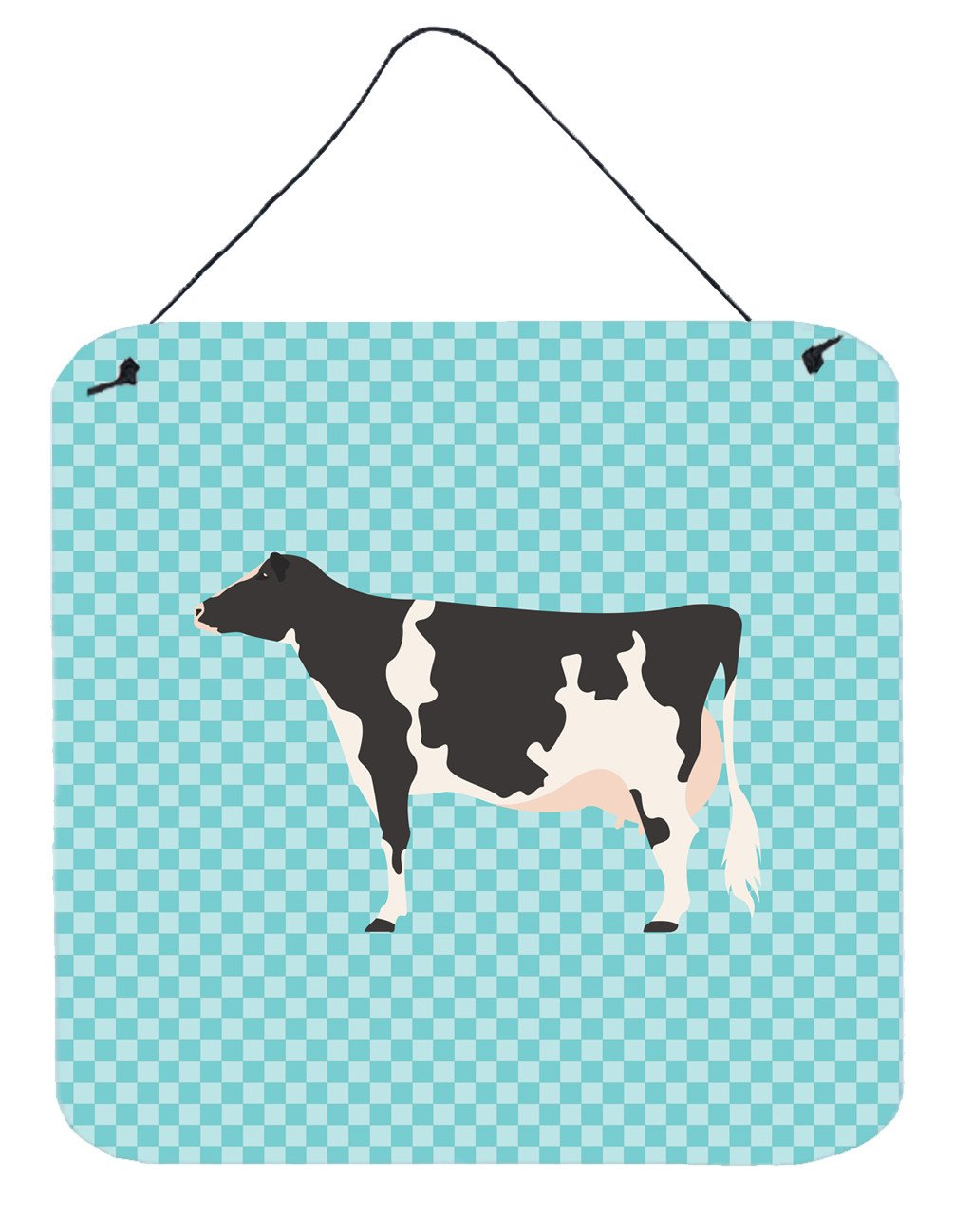 Holstein Cow Blue Check Wall or Door Hanging Prints BB7996DS66 by Caroline's Treasures