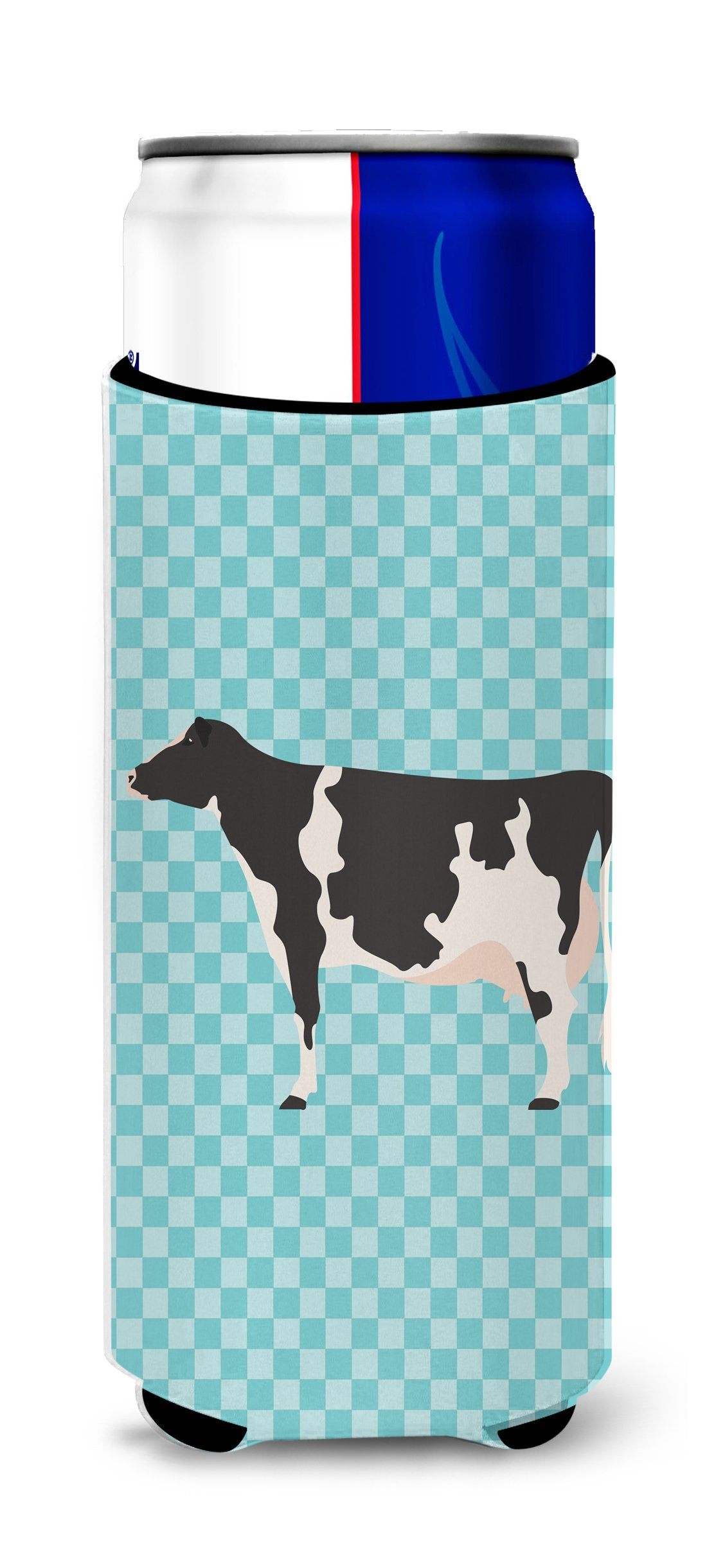 Holstein Cow Blue Check Michelob Ultra Hugger for slim cans by Caroline's Treasures