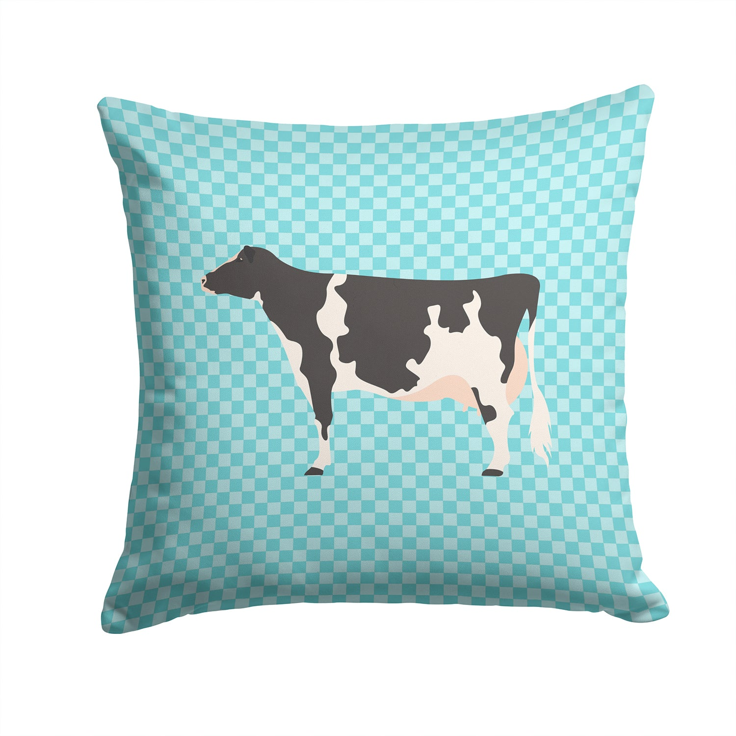 Holstein Cow Blue Check Fabric Decorative Pillow BB7996PW1414 by Caroline's Treasures