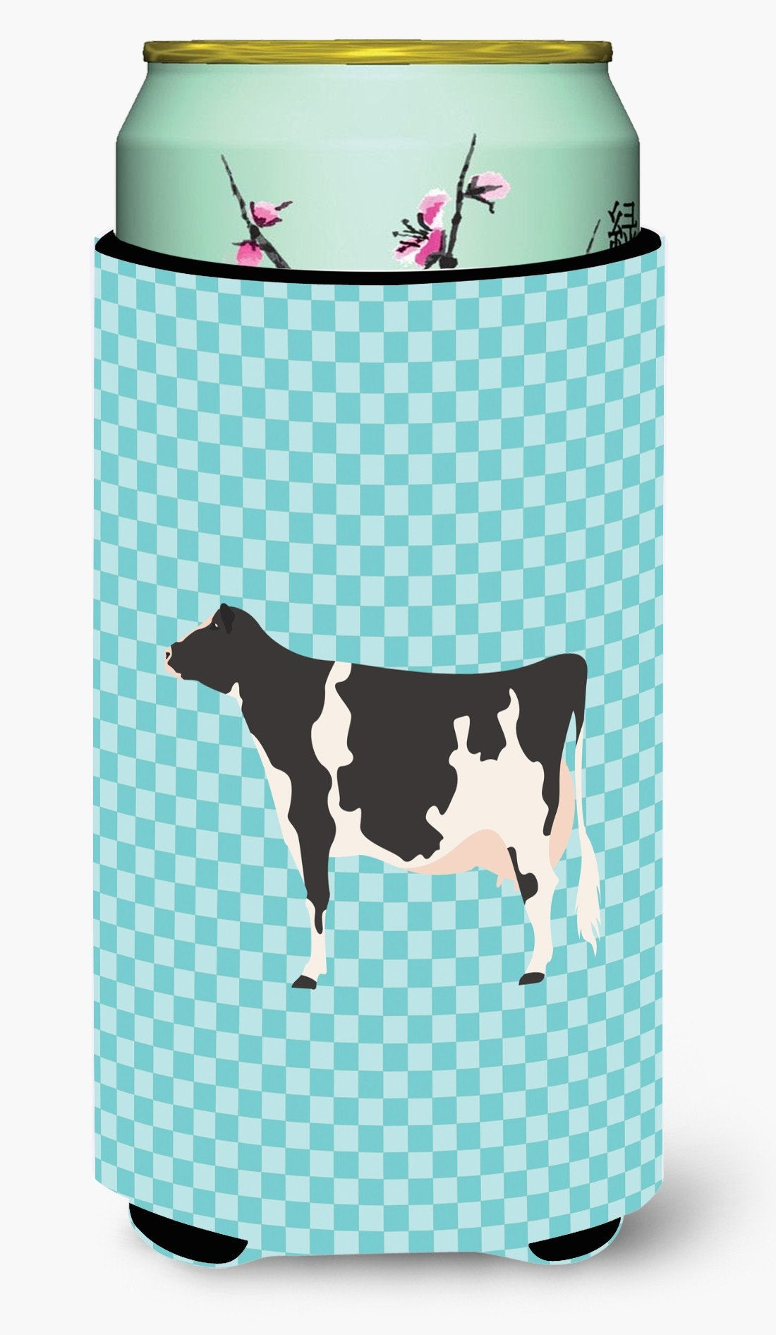 Holstein Cow Blue Check Tall Boy Beverage Insulator Hugger BB7996TBC by Caroline's Treasures