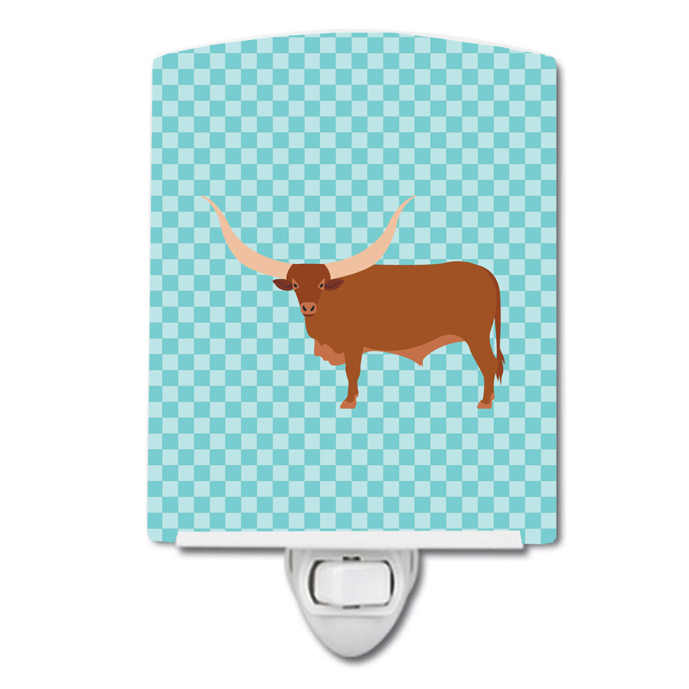 Ankole-Watusu Cow Blue Check Ceramic Night Light BB7997CNL by Caroline's Treasures