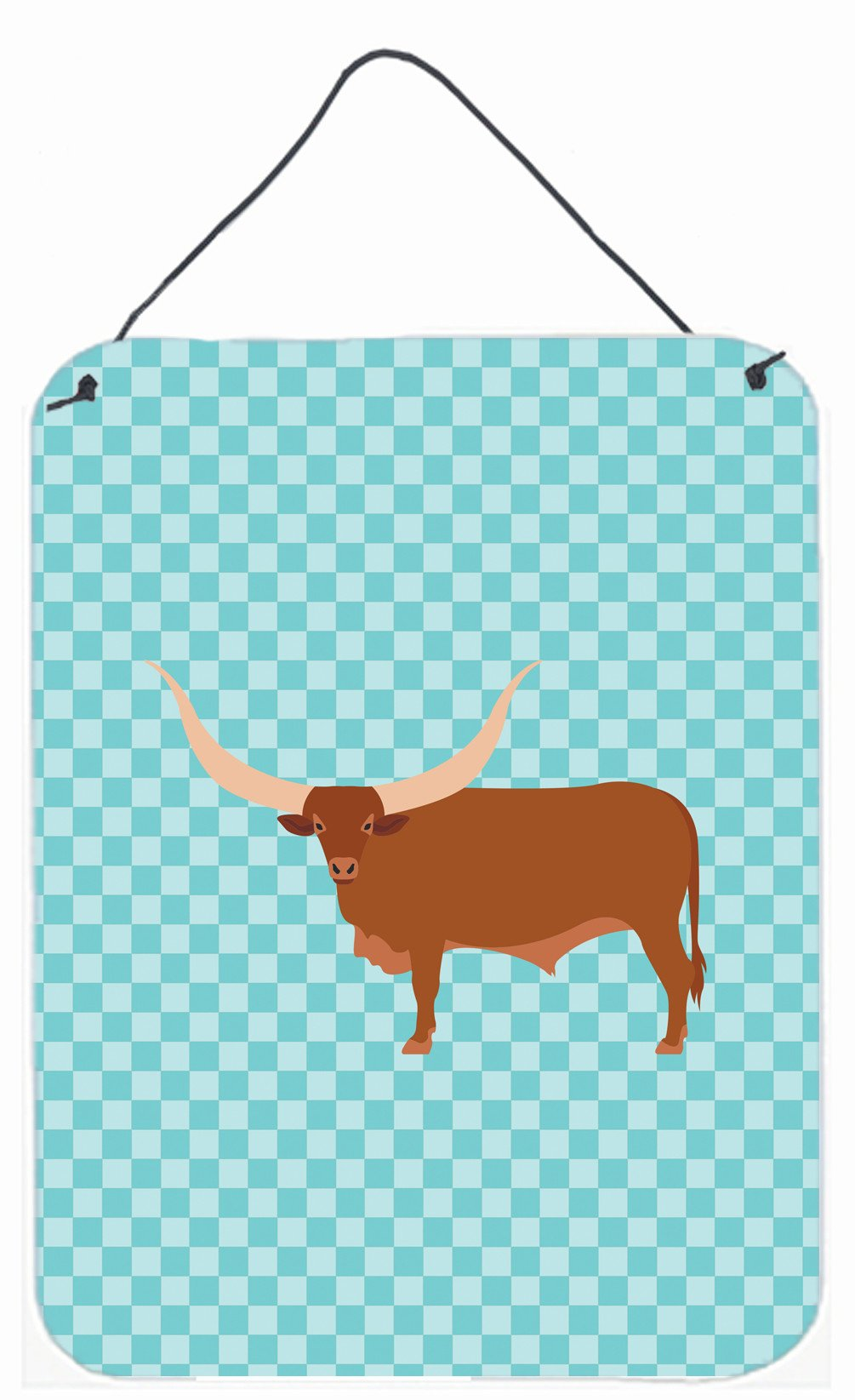 Ankole-Watusu Cow Blue Check Wall or Door Hanging Prints BB7997DS1216 by Caroline's Treasures