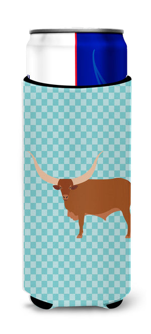 Buy this Ankole-Watusu Cow Blue Check Michelob Ultra Hugger for slim cans