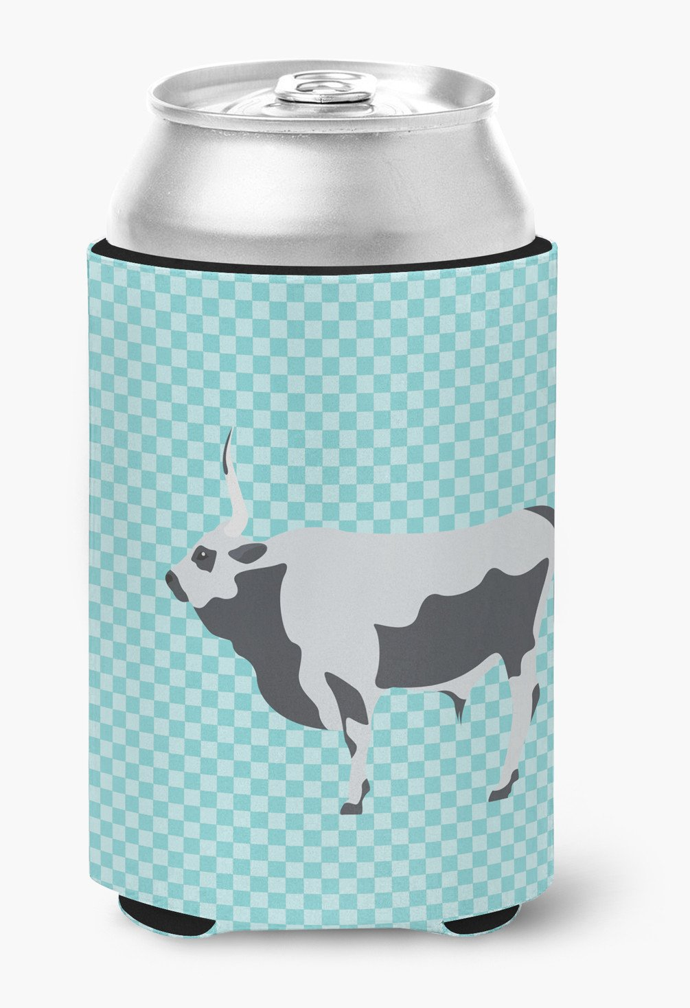 Hungarian Grey Steppe Cow Blue Check Can or Bottle Hugger BB7998CC by Caroline's Treasures