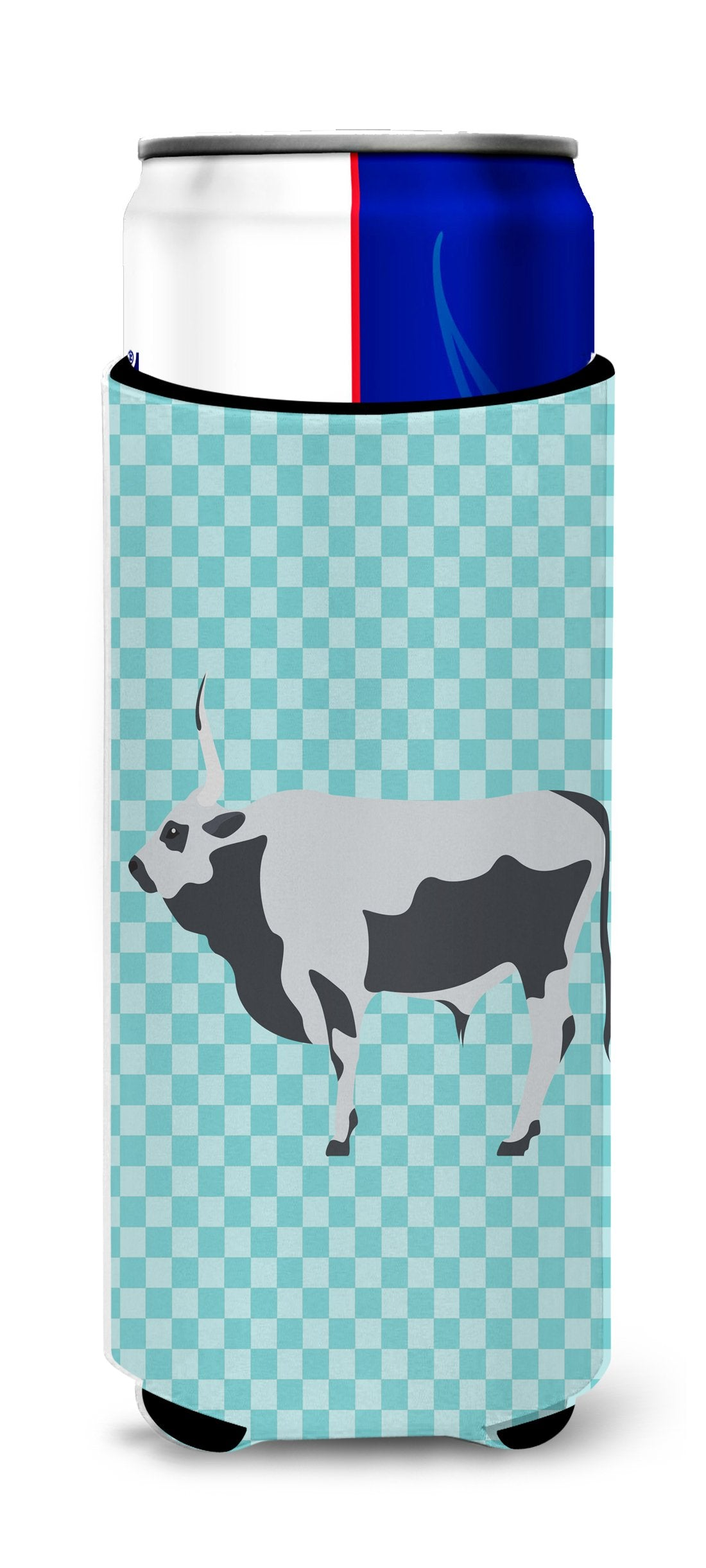 Buy this Hungarian Grey Steppe Cow Blue Check Michelob Ultra Hugger for slim cans