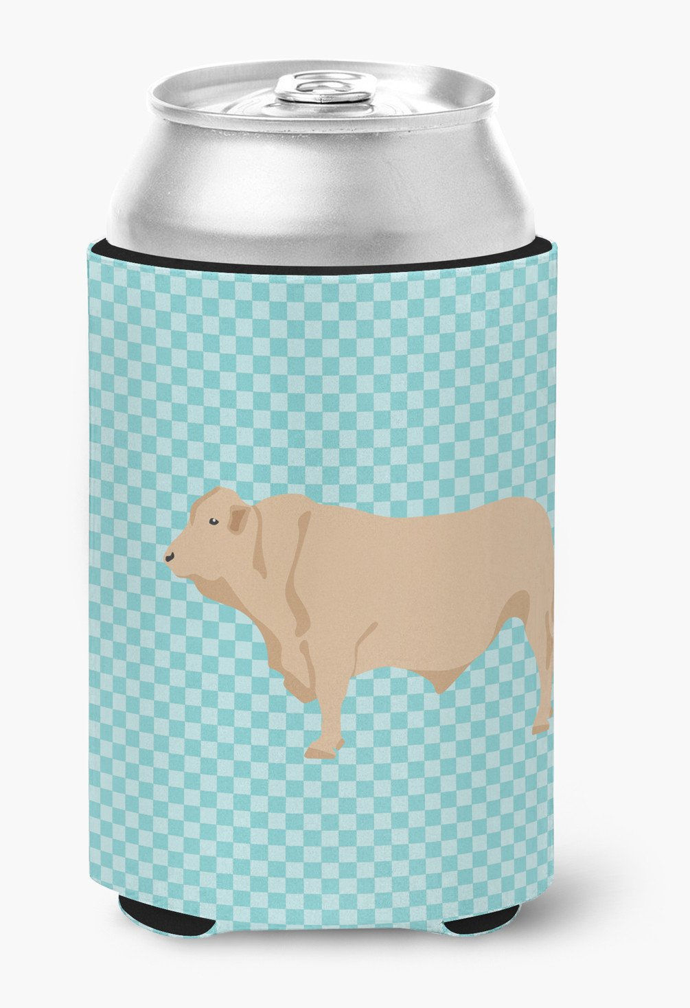 Charolais Cow Blue Check Can or Bottle Hugger BB8000CC by Caroline's Treasures