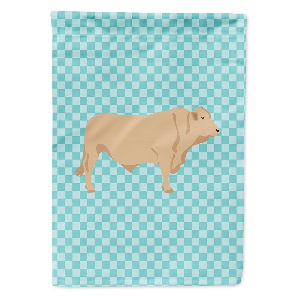 Buy this Charolais Cow Blue Check Flag Garden Size