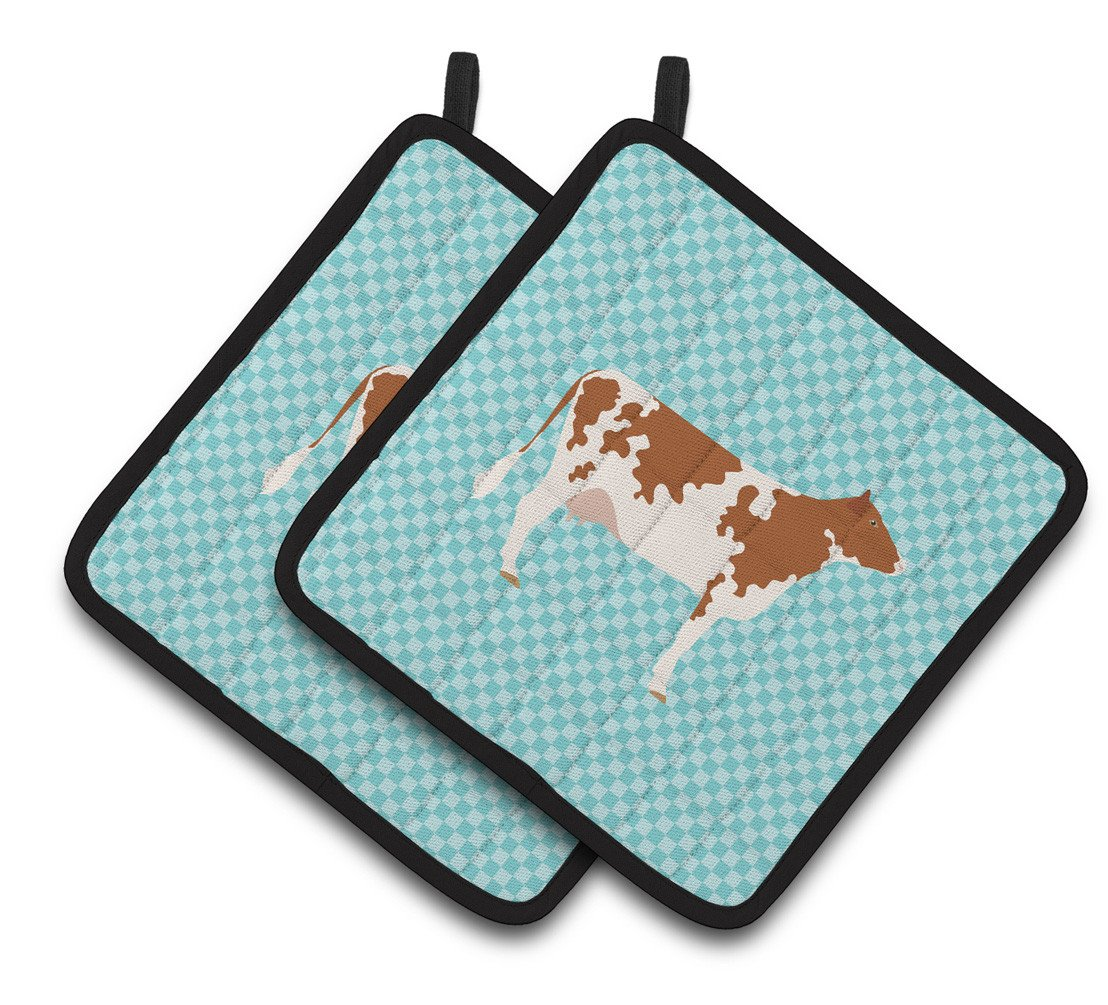 Ayrshire Cow Blue Check Pair of Pot Holders BB8001PTHD by Caroline's Treasures