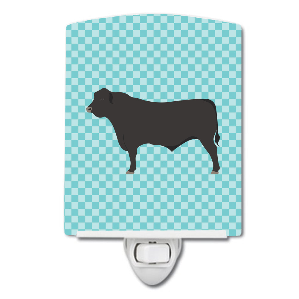 Black Angus Cow Blue Check Ceramic Night Light BB8002CNL by Caroline's Treasures