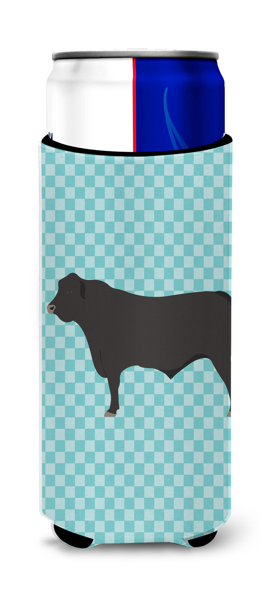 Buy this Black Angus Cow Blue Check Michelob Ultra Hugger for slim cans