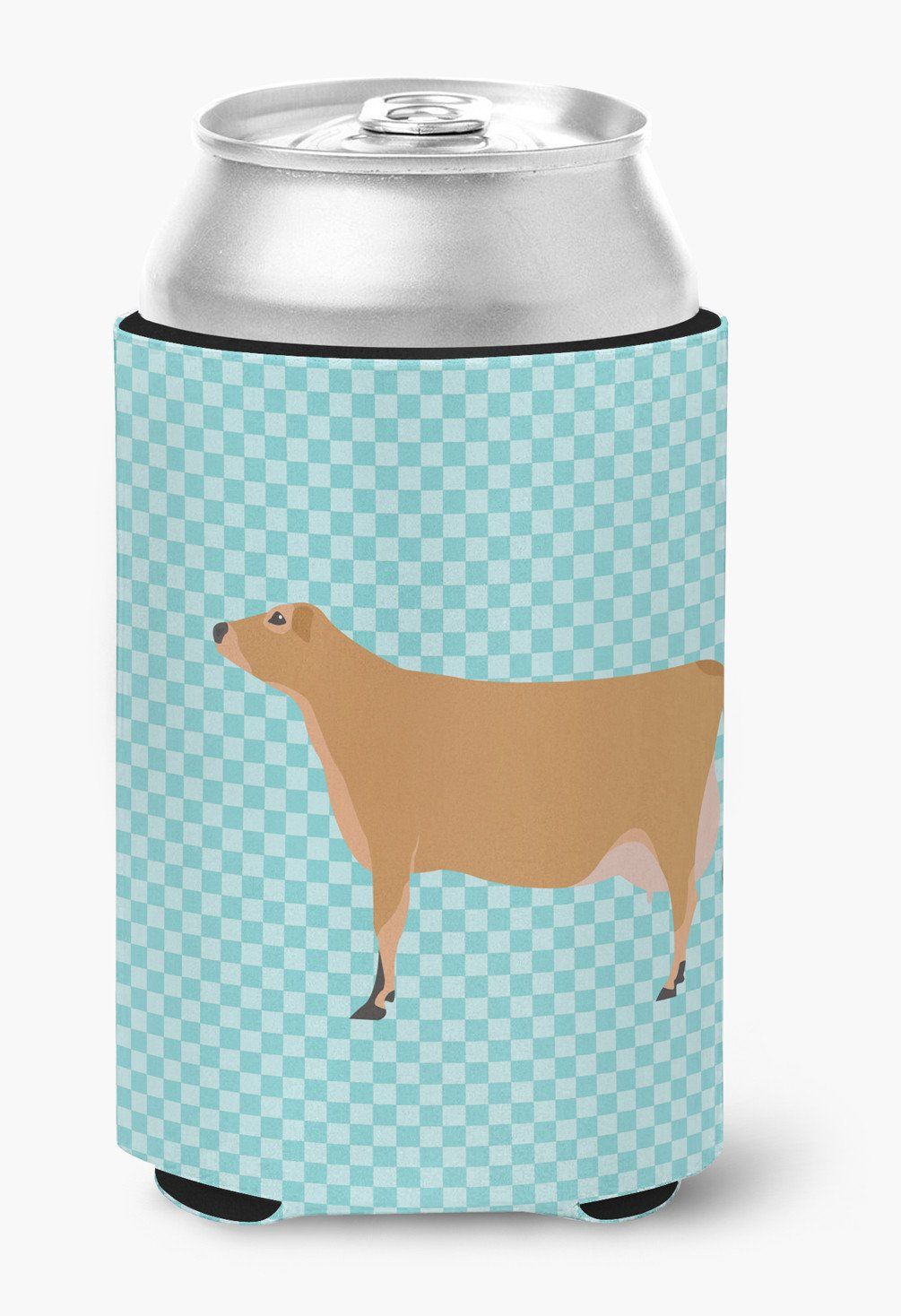 Jersey Cow Blue Check Can or Bottle Hugger BB8003CC by Caroline's Treasures