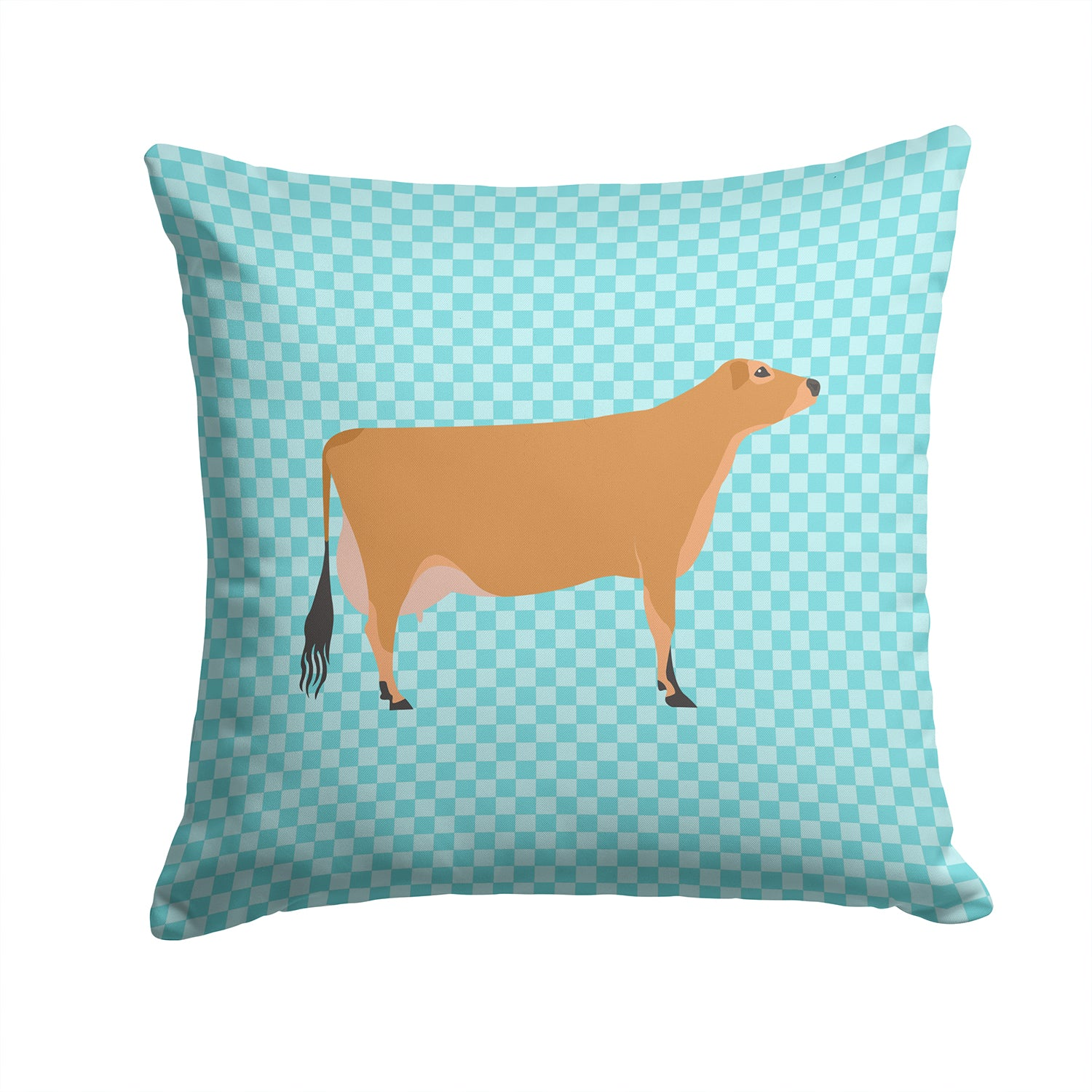 Jersey Cow Blue Check Fabric Decorative Pillow BB8003PW1414 by Caroline's Treasures