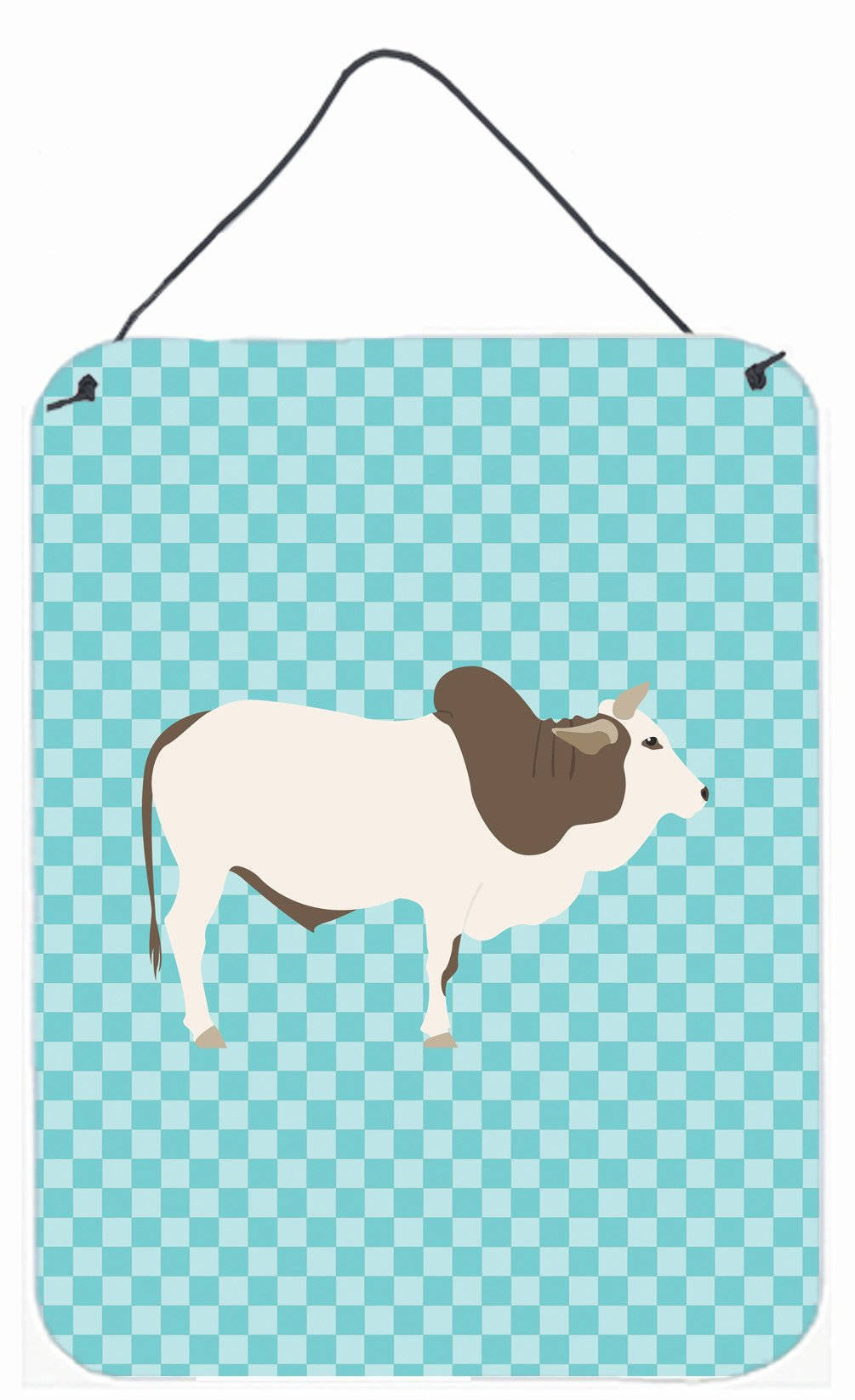 Malvi Cow Blue Check Wall or Door Hanging Prints BB8004DS1216 by Caroline's Treasures