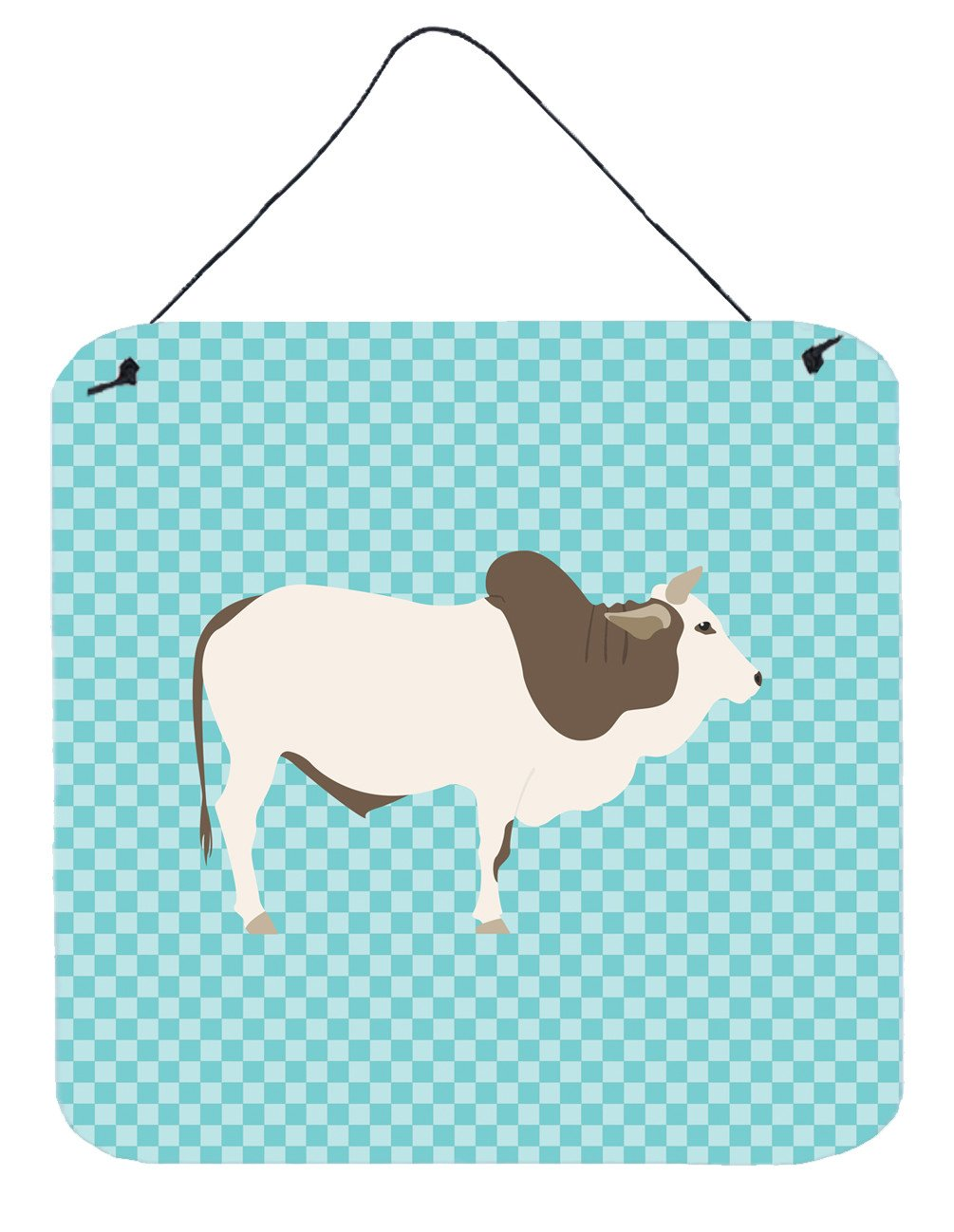 Malvi Cow Blue Check Wall or Door Hanging Prints BB8004DS66 by Caroline's Treasures