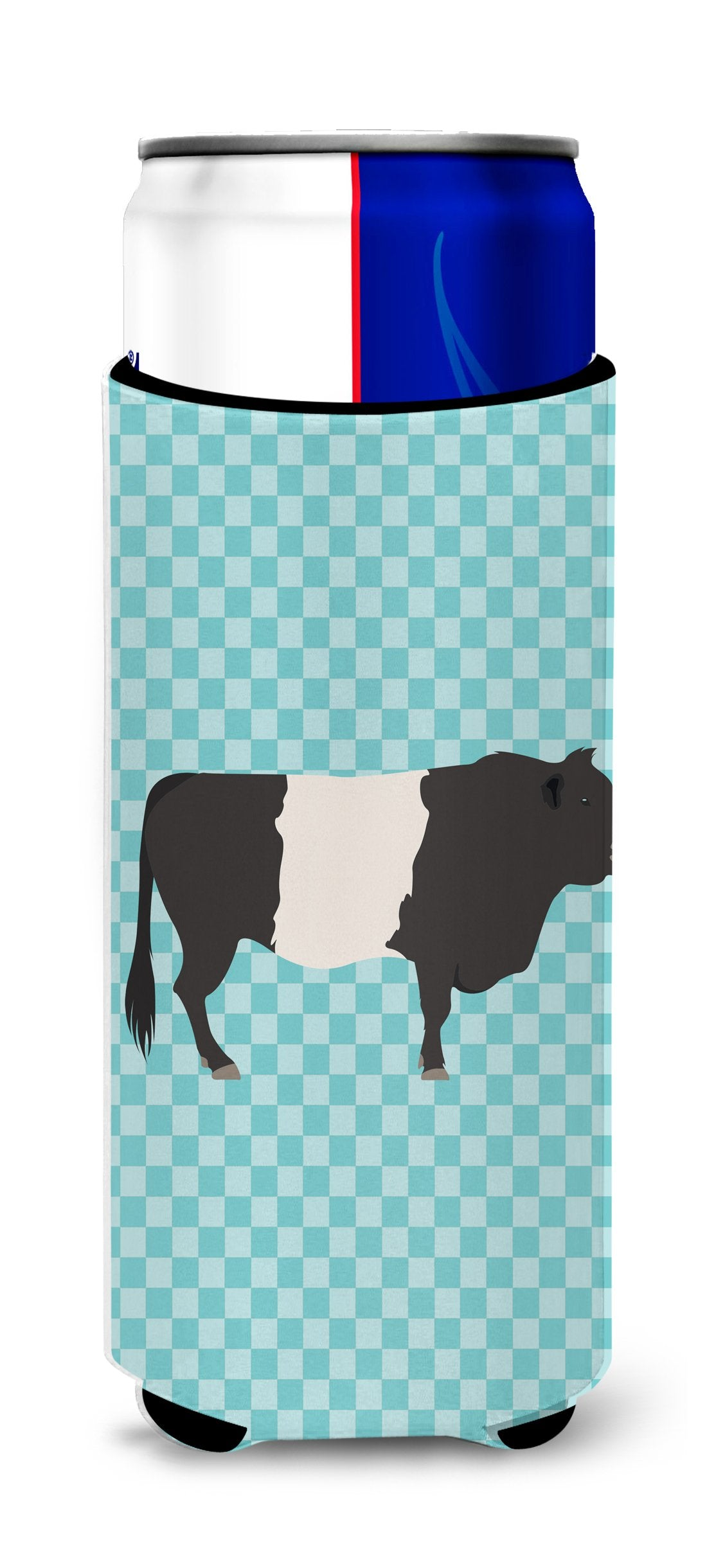 Buy this Belted Galloway Cow Blue Check Michelob Ultra Hugger for slim cans