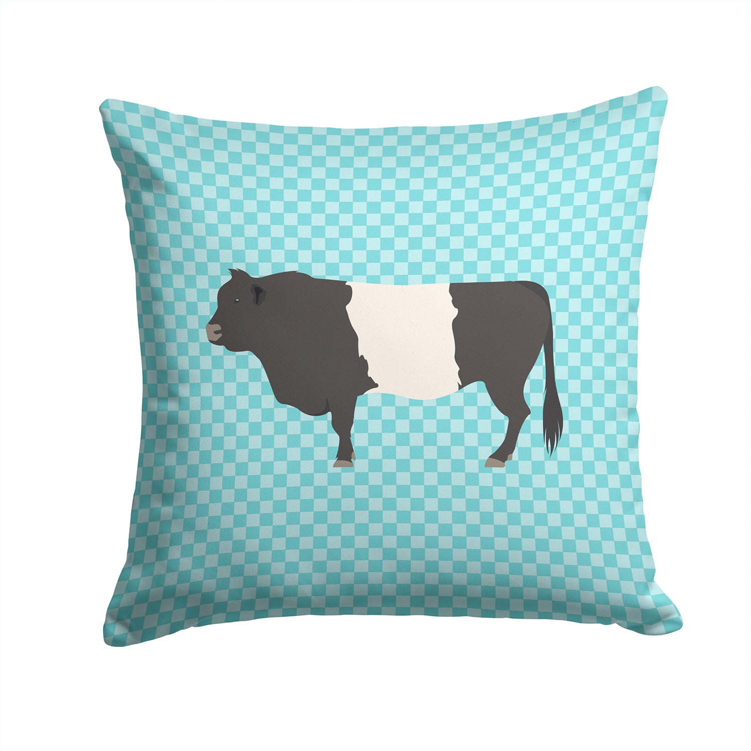 Belted Galloway Cow Blue Check Fabric Decorative Pillow BB8005PW1414 by Caroline's Treasures