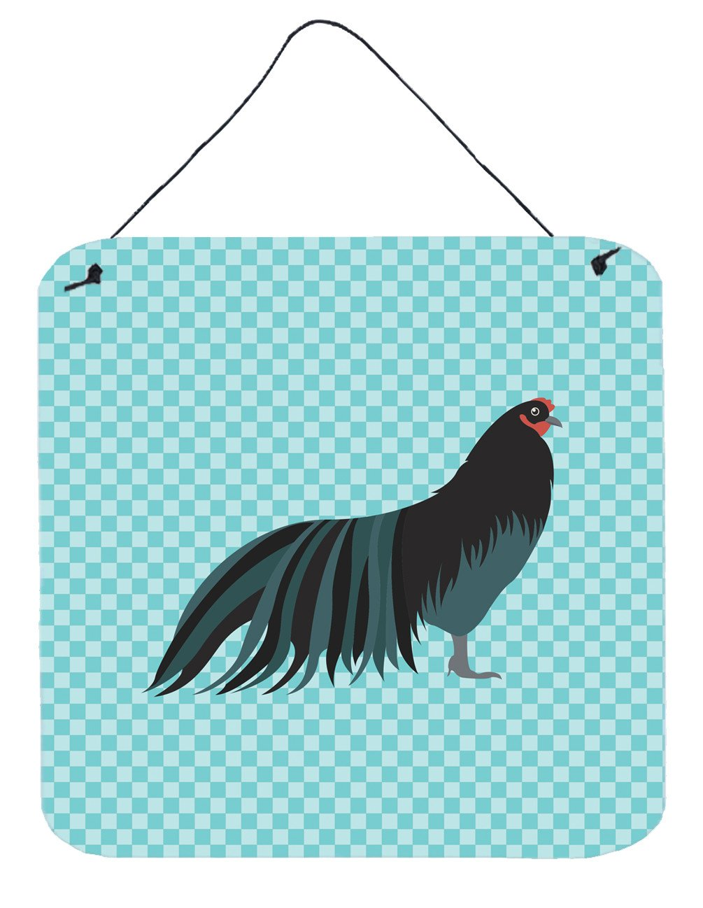 Sumatra Chicken Blue Check Wall or Door Hanging Prints BB8007DS66 by Caroline's Treasures