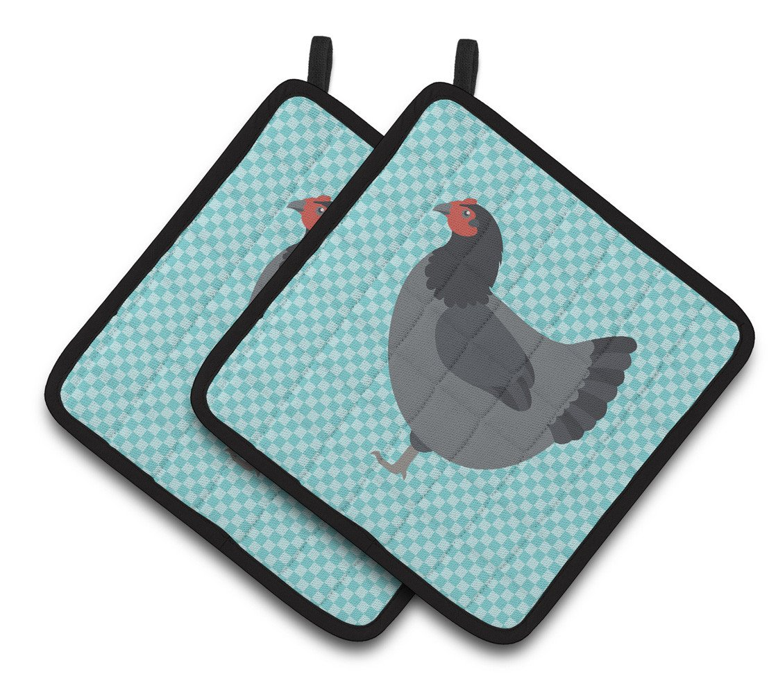 Jersey Giant Chicken Blue Check Pair of Pot Holders BB8009PTHD by Caroline's Treasures