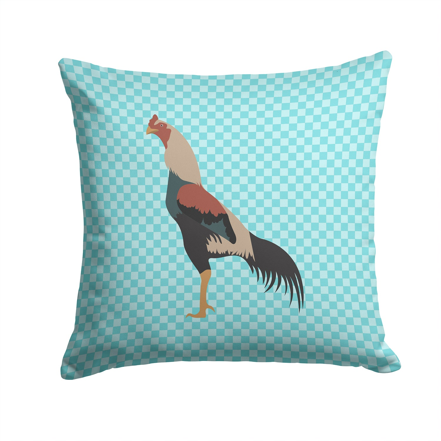 Kulang Chicken Blue Check Fabric Decorative Pillow BB8012PW1414 by Caroline's Treasures