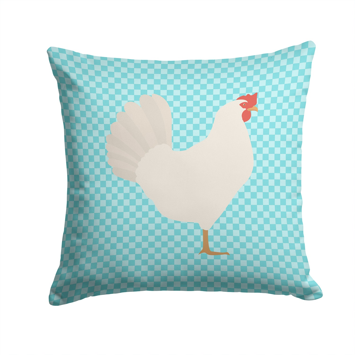 Leghorn Chicken Blue Check Fabric Decorative Pillow BB8014PW1414 by Caroline's Treasures