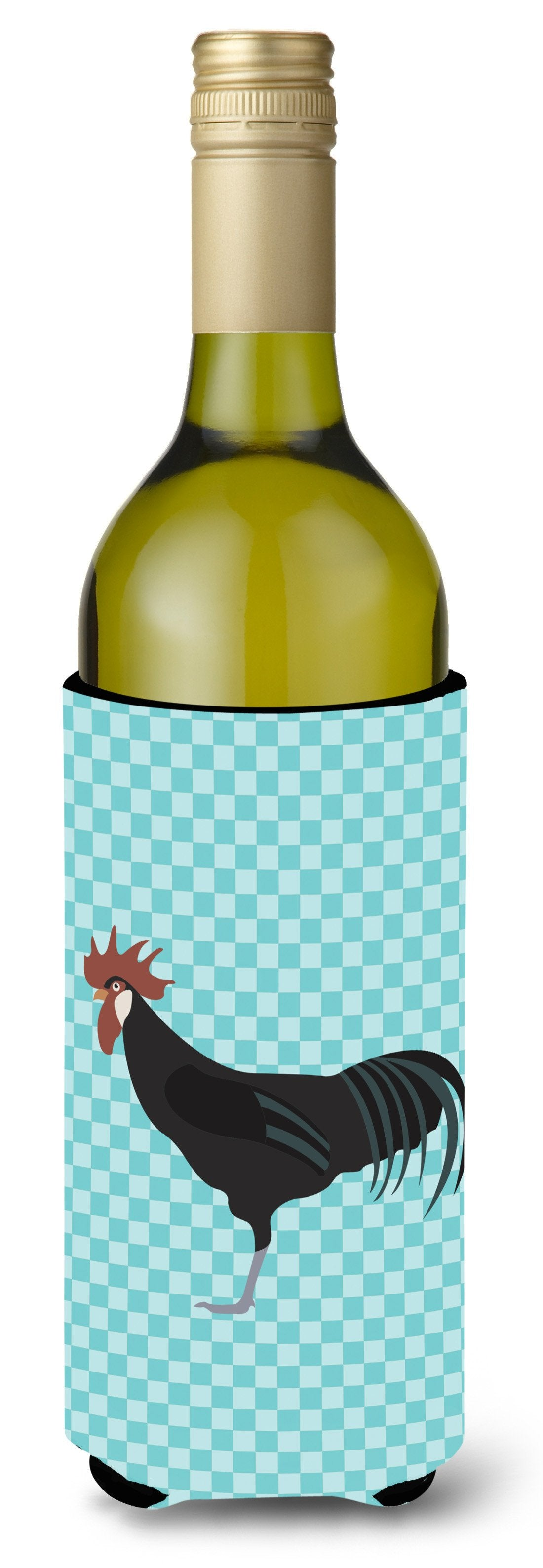 Minorca Ctalalan Chicken Blue Check Wine Bottle Beverge Insulator Hugger BB8015LITERK by Caroline's Treasures