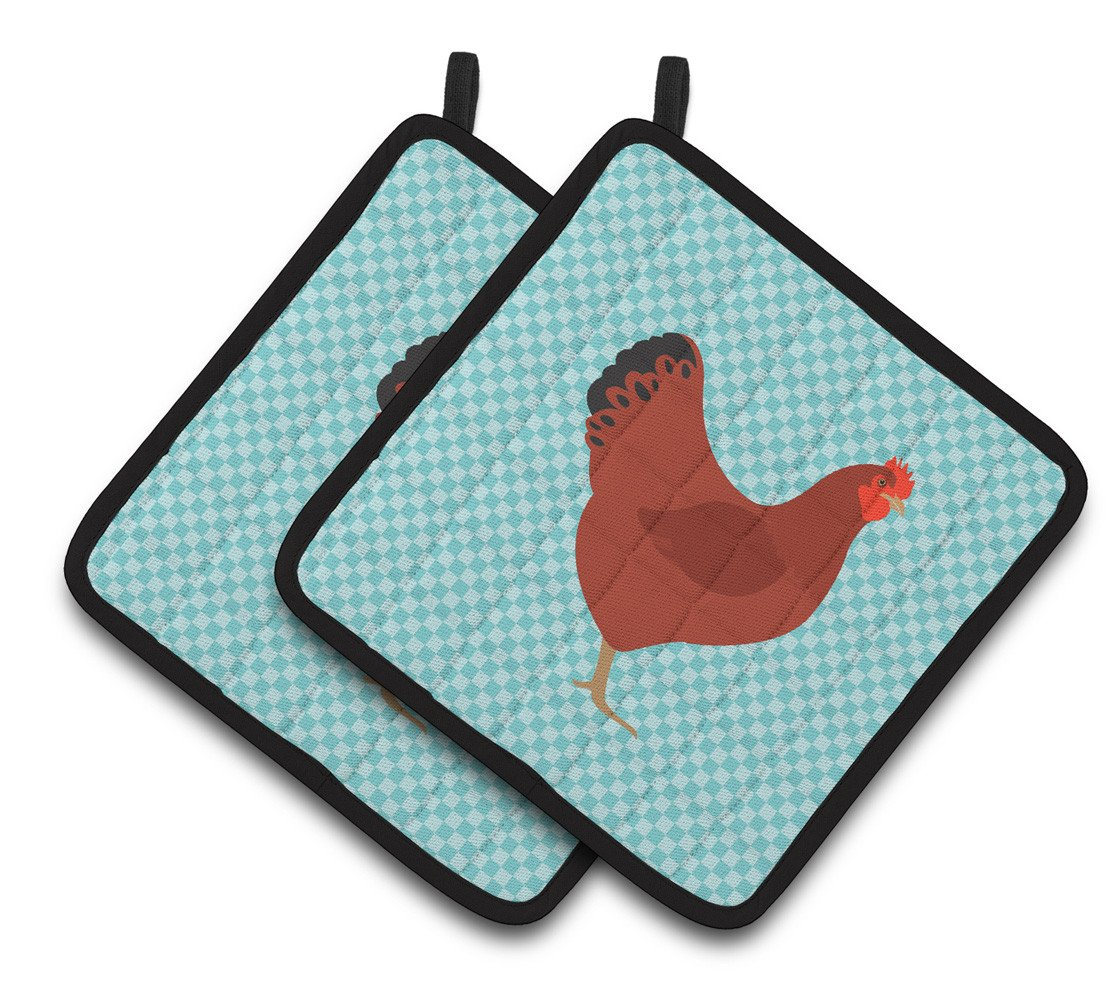 New Hampshire Red Chicken Blue Check Pair of Pot Holders BB8017PTHD by Caroline's Treasures