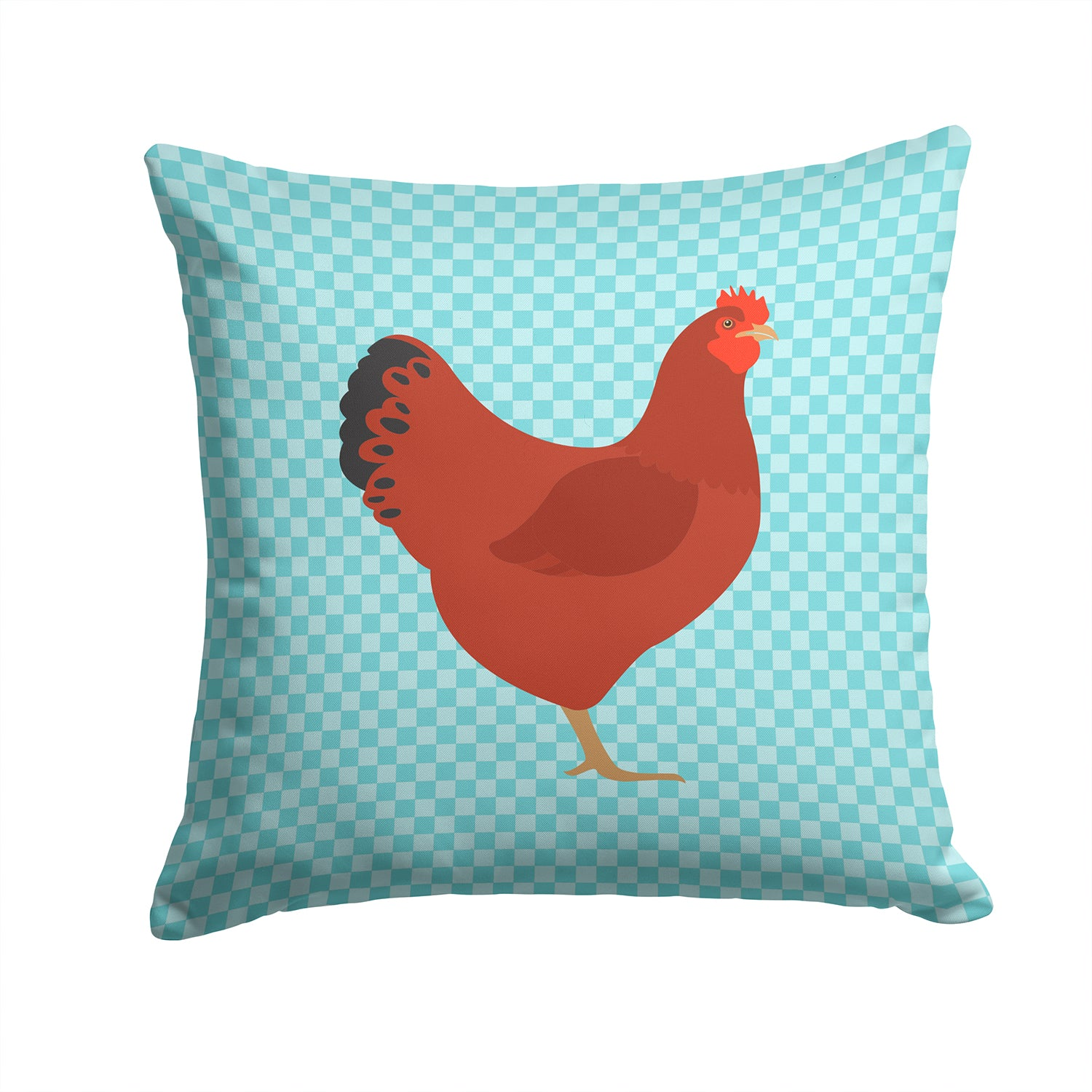 New Hampshire Red Chicken Blue Check Fabric Decorative Pillow BB8017PW1414 by Caroline's Treasures