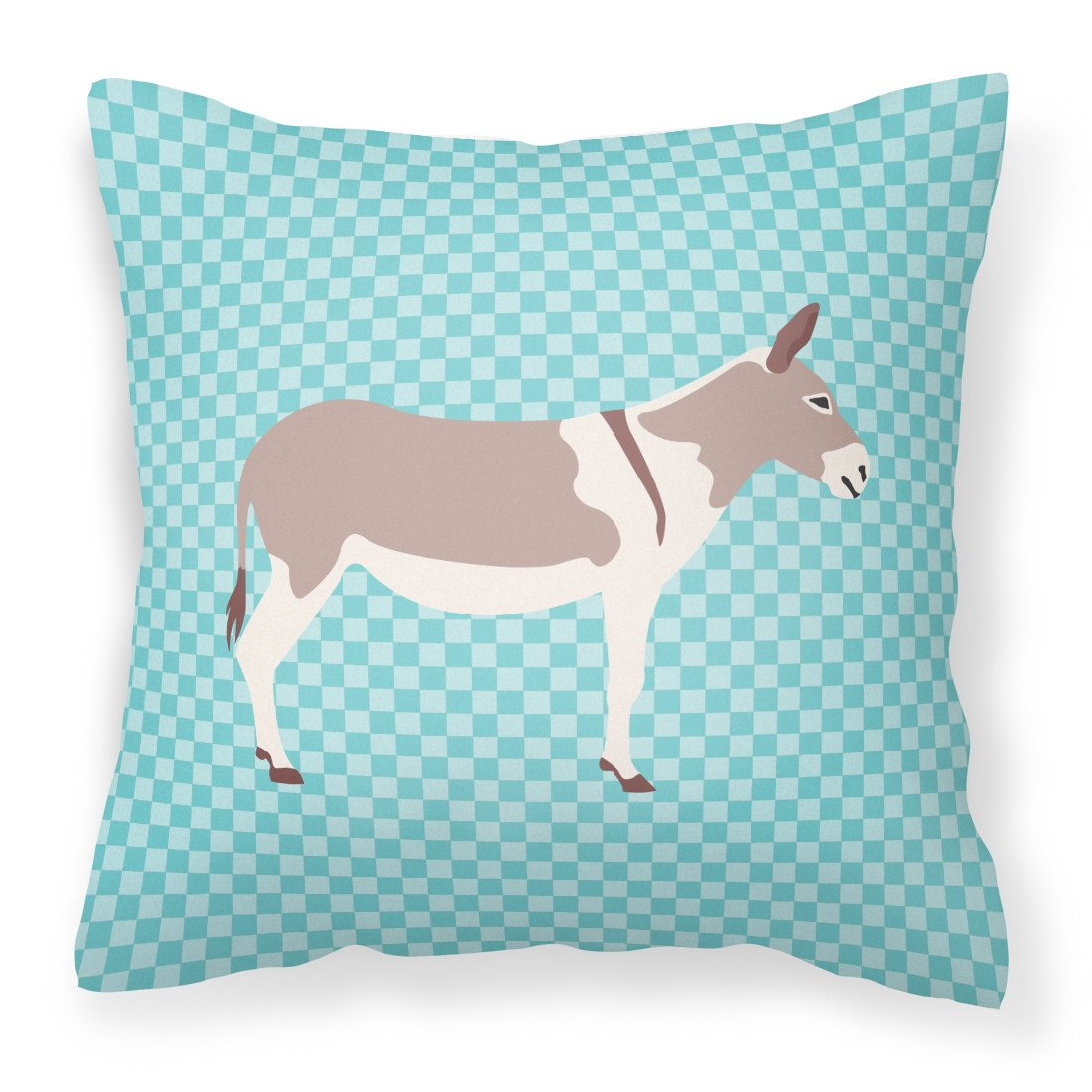 Australian Teamster Donkey Blue Check Fabric Decorative Pillow BB8020PW1818 by Caroline's Treasures