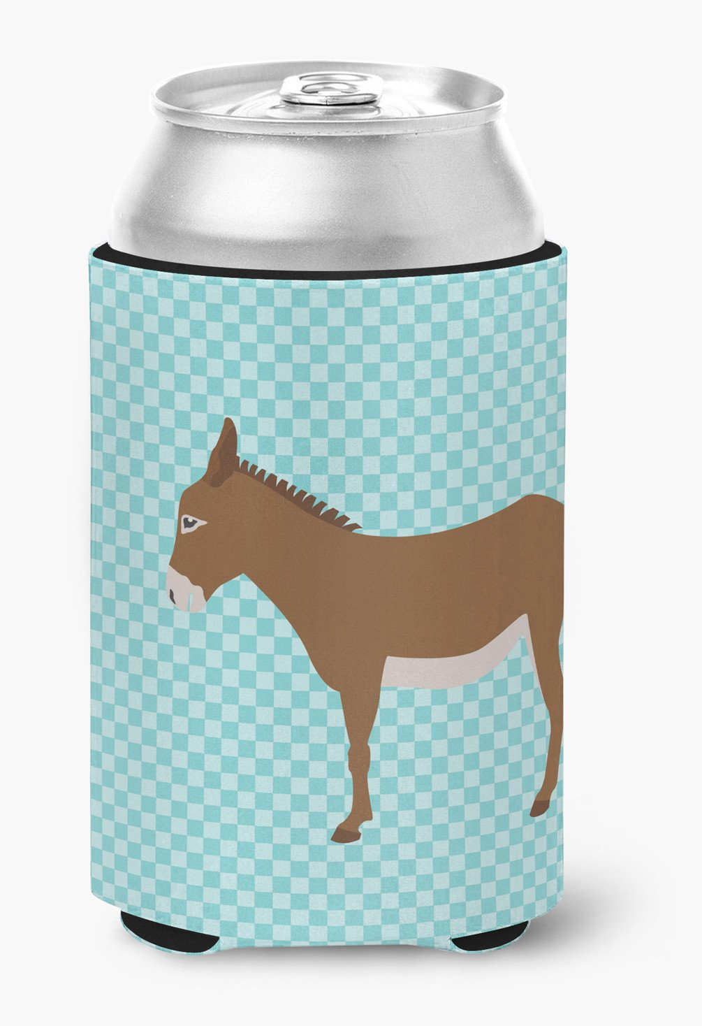 Cotentin Donkey Blue Check Can or Bottle Hugger BB8023CC by Caroline's Treasures