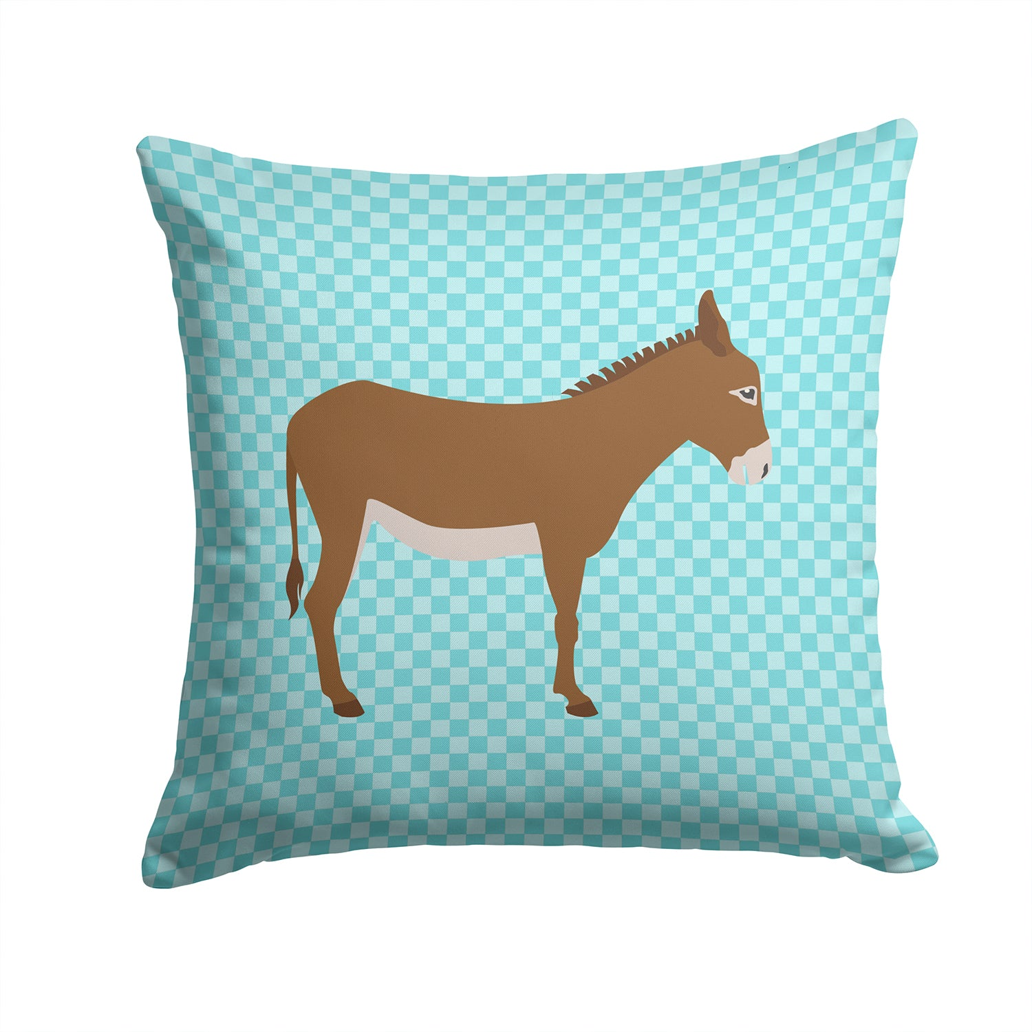 Cotentin Donkey Blue Check Fabric Decorative Pillow BB8023PW1414 by Caroline's Treasures