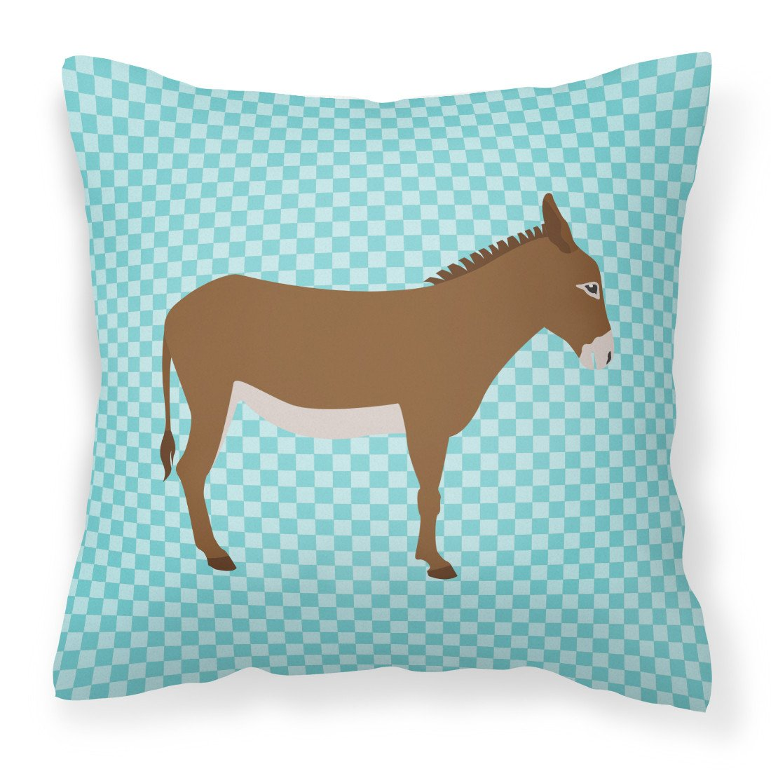 Cotentin Donkey Blue Check Fabric Decorative Pillow BB8023PW1818 by Caroline's Treasures