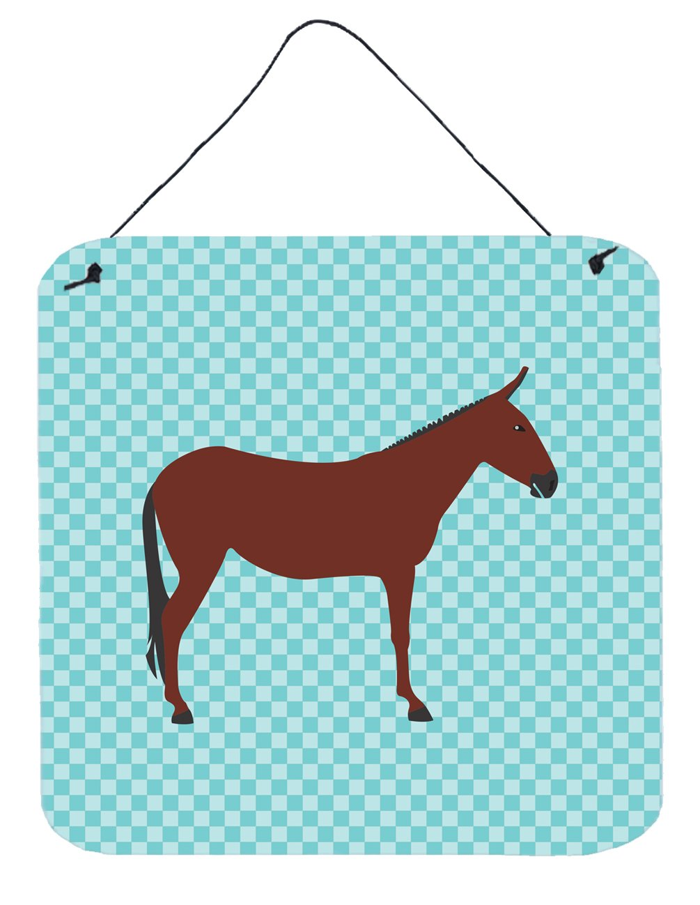 Buy this Hinny Horse Donkey Blue Check Wall or Door Hanging Prints