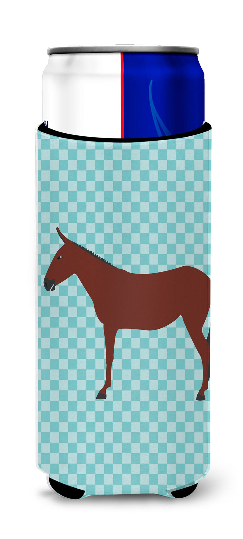 Buy this Hinny Horse Donkey Blue Check Michelob Ultra Hugger for slim cans