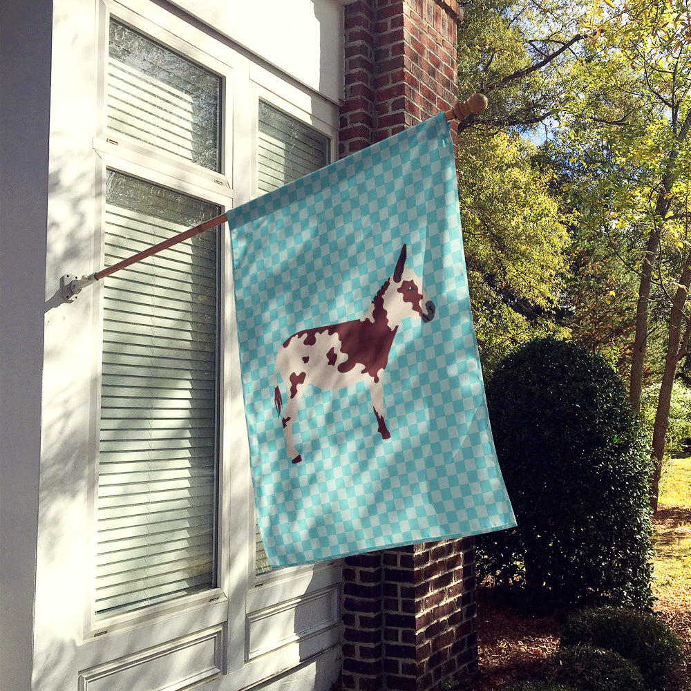 American Spotted Donkey Blue Check Flag Canvas House Size BB8025CHF by Caroline's Treasures