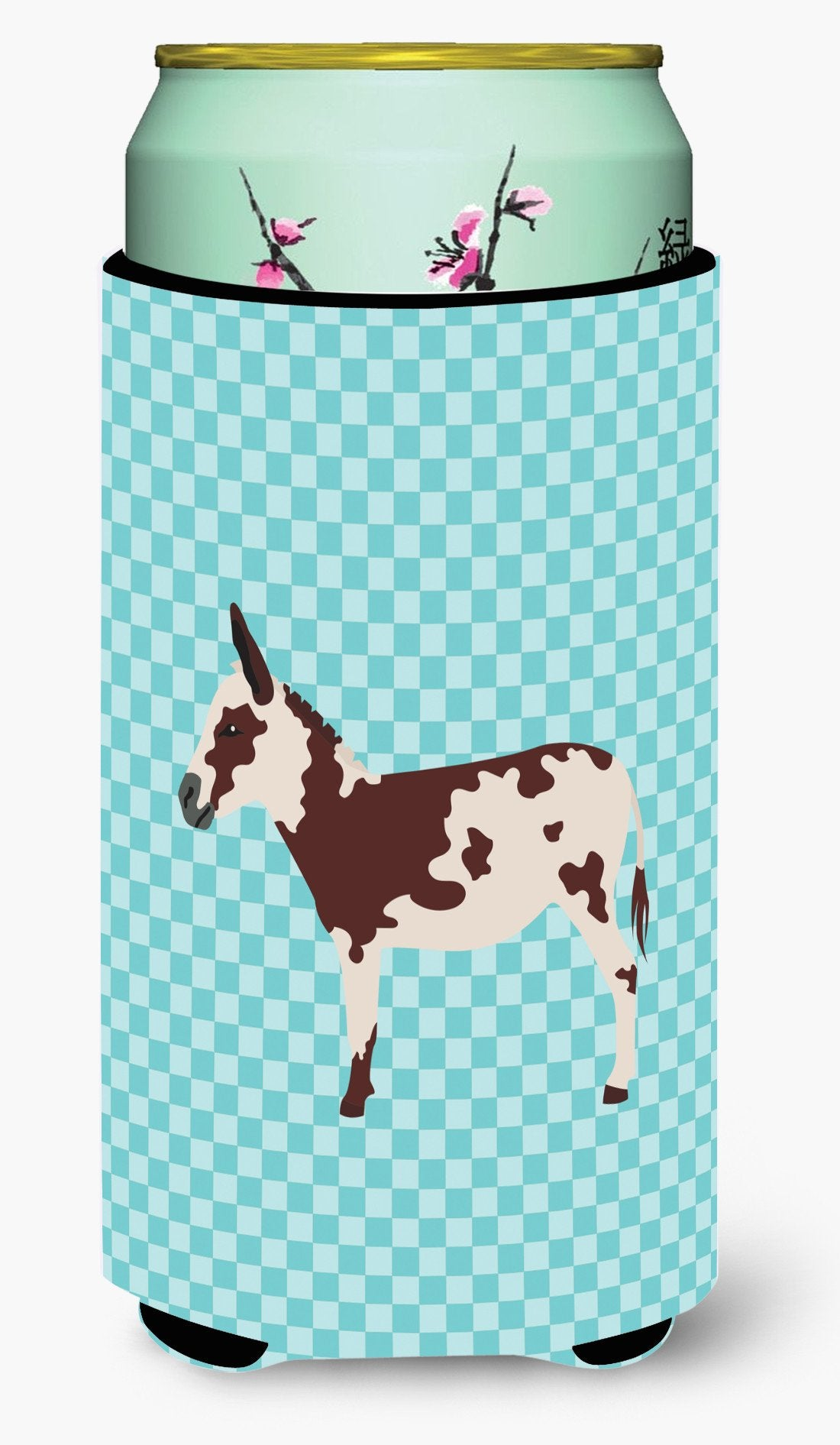 American Spotted Donkey Blue Check Tall Boy Beverage Insulator Hugger BB8025TBC by Caroline's Treasures