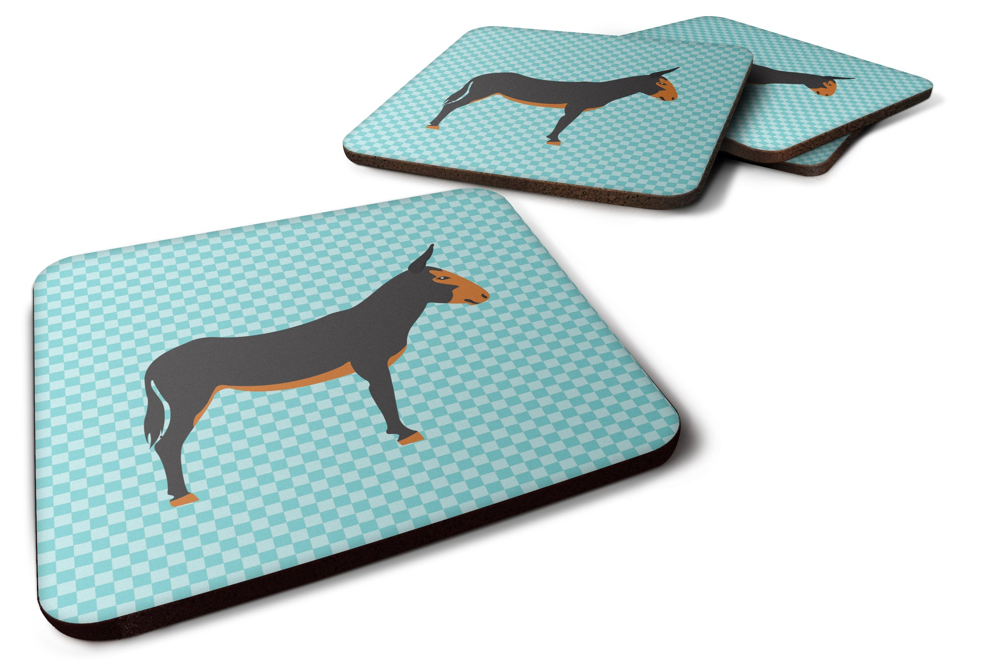 Buy this Catalan Donkey Blue Check Foam Coaster Set of 4 BB8029FC