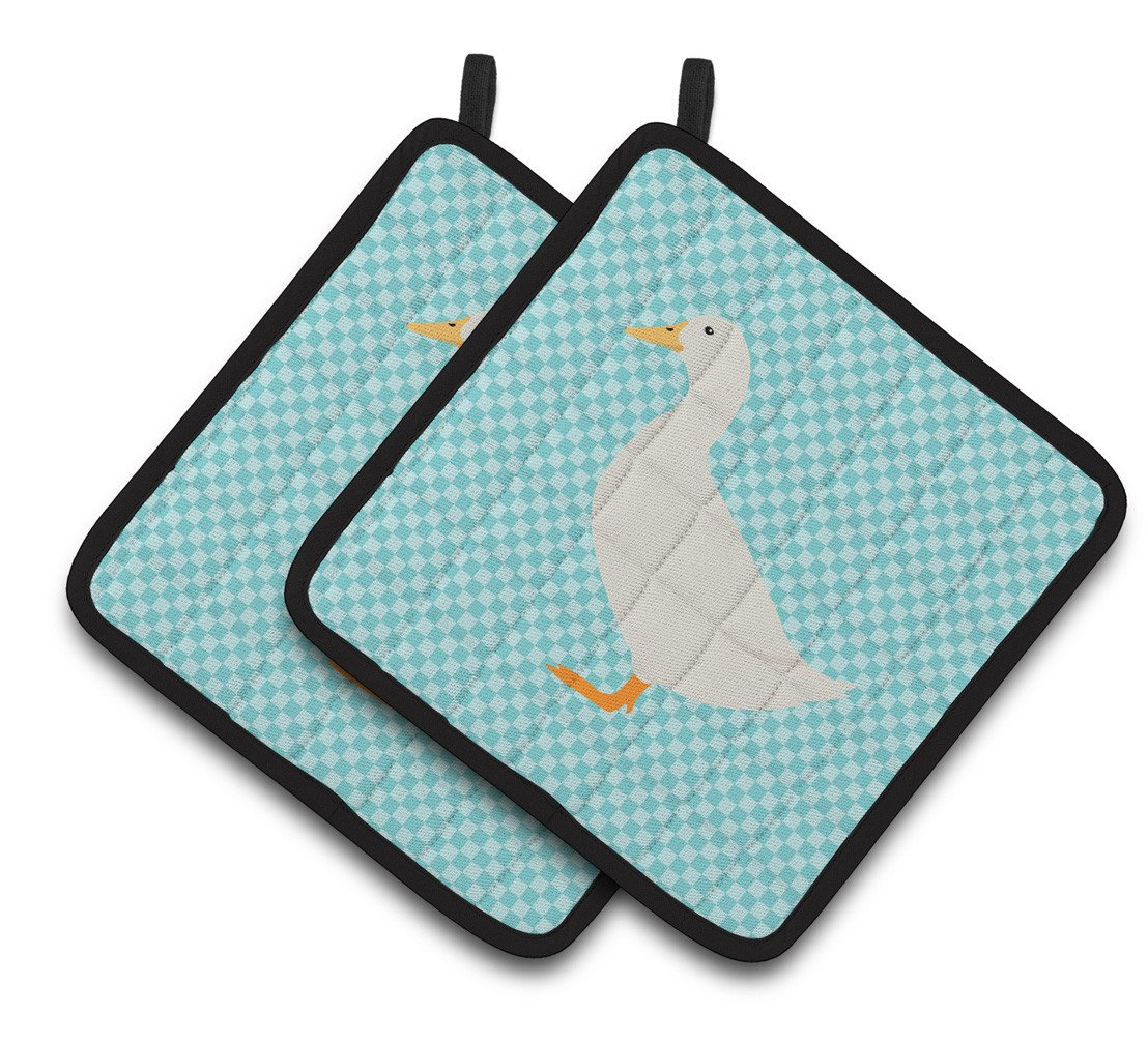 American Pekin Duck Blue Check Pair of Pot Holders BB8034PTHD by Caroline's Treasures