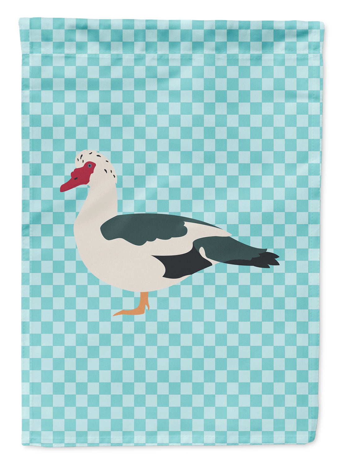 Muscovy Duck Blue Check Flag Canvas House Size BB8038CHF by Caroline's Treasures