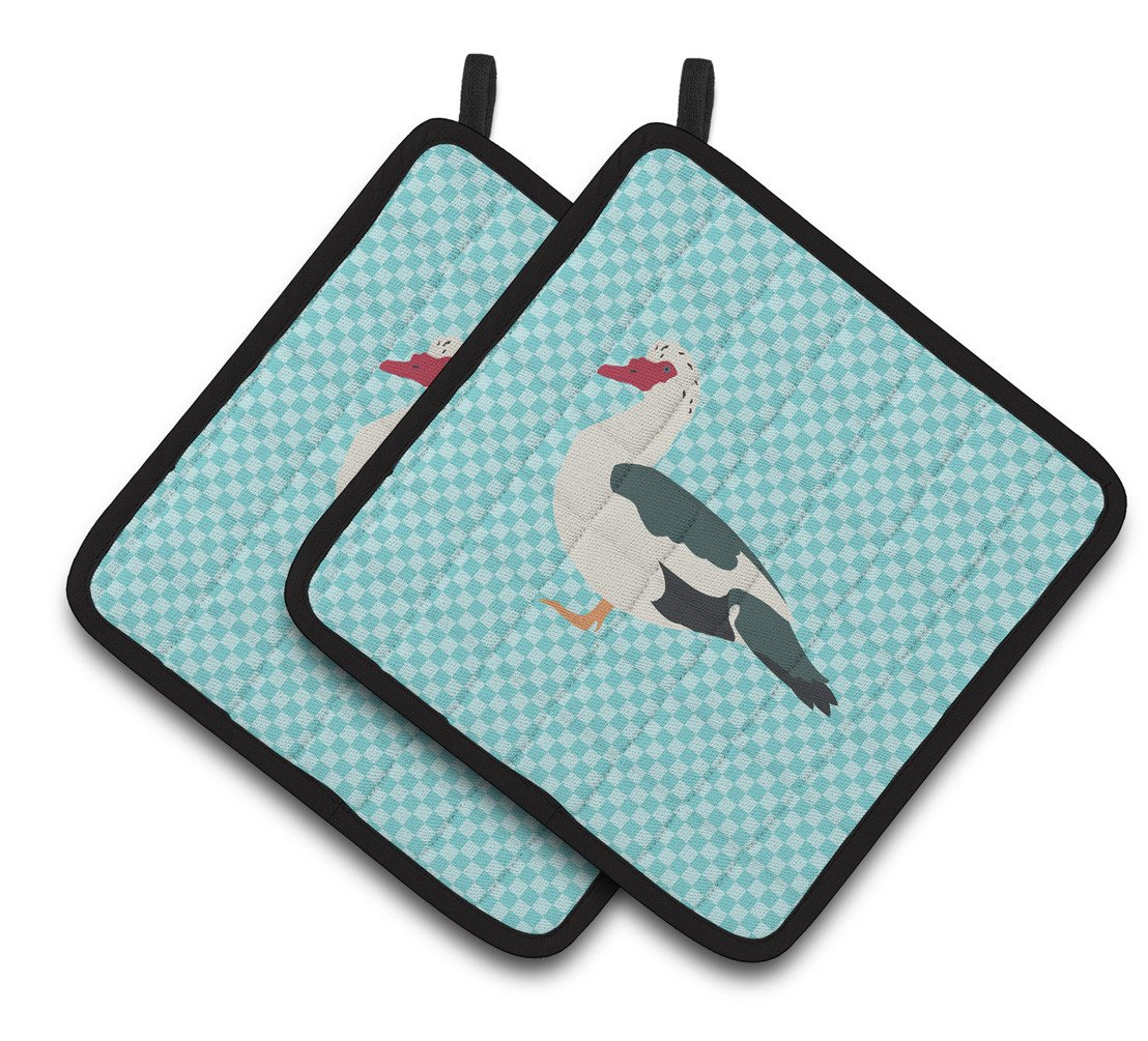 Muscovy Duck Blue Check Pair of Pot Holders BB8038PTHD by Caroline's Treasures