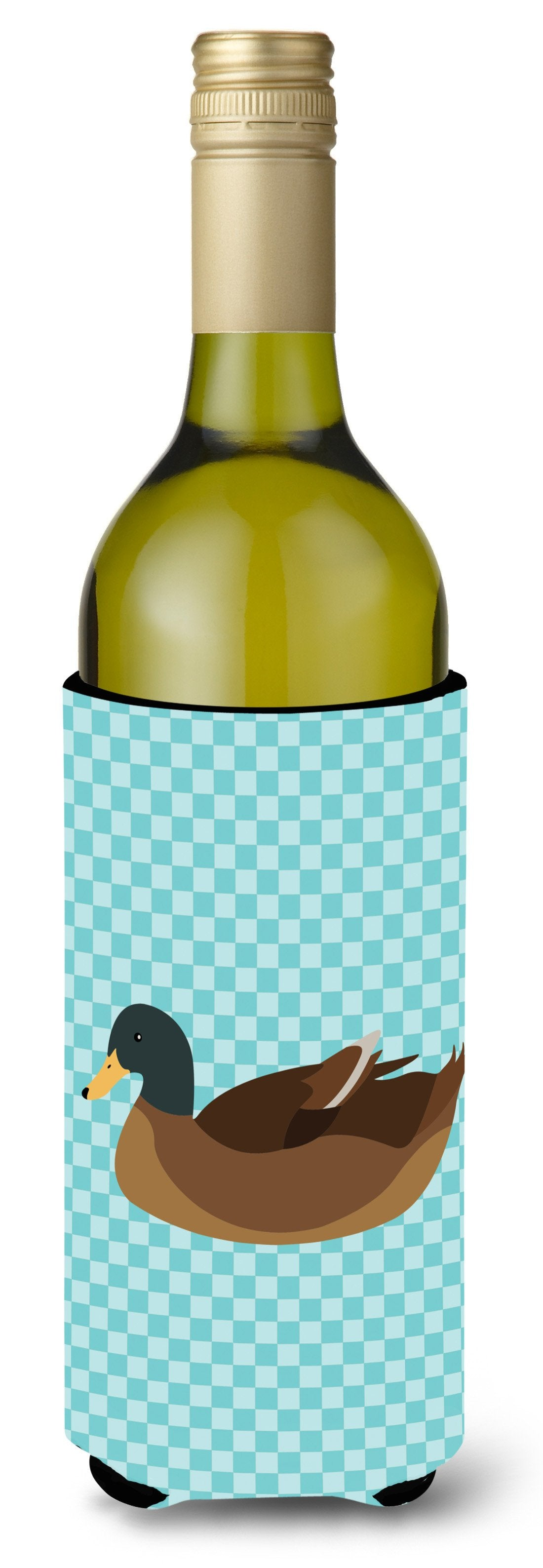 Khaki Campbell Duck Blue Check Wine Bottle Beverge Insulator Hugger BB8040LITERK by Caroline's Treasures